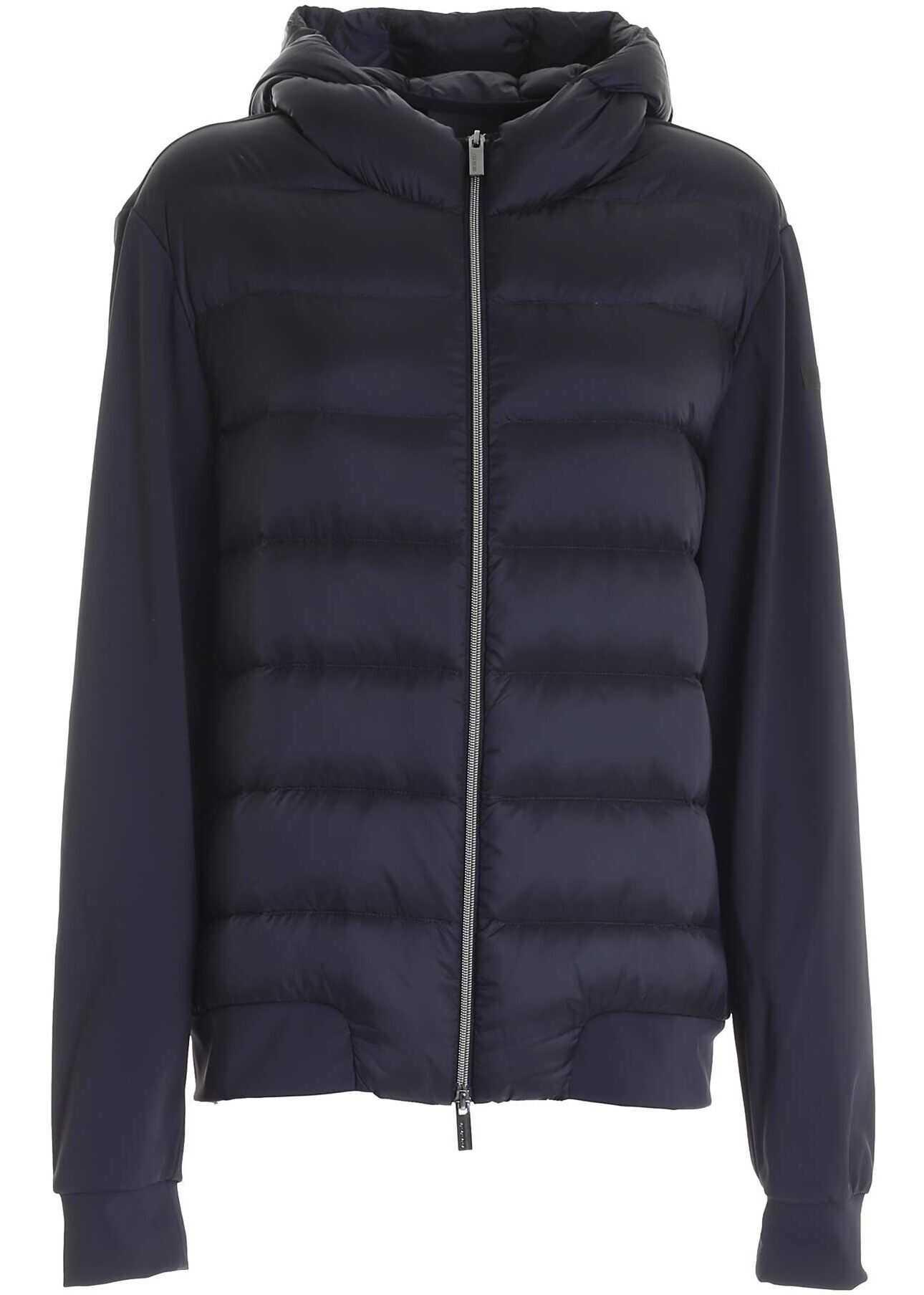 RRD Roberto Ricci Designs Hybrid Padded Sweater In Dark Blue Blue imagine