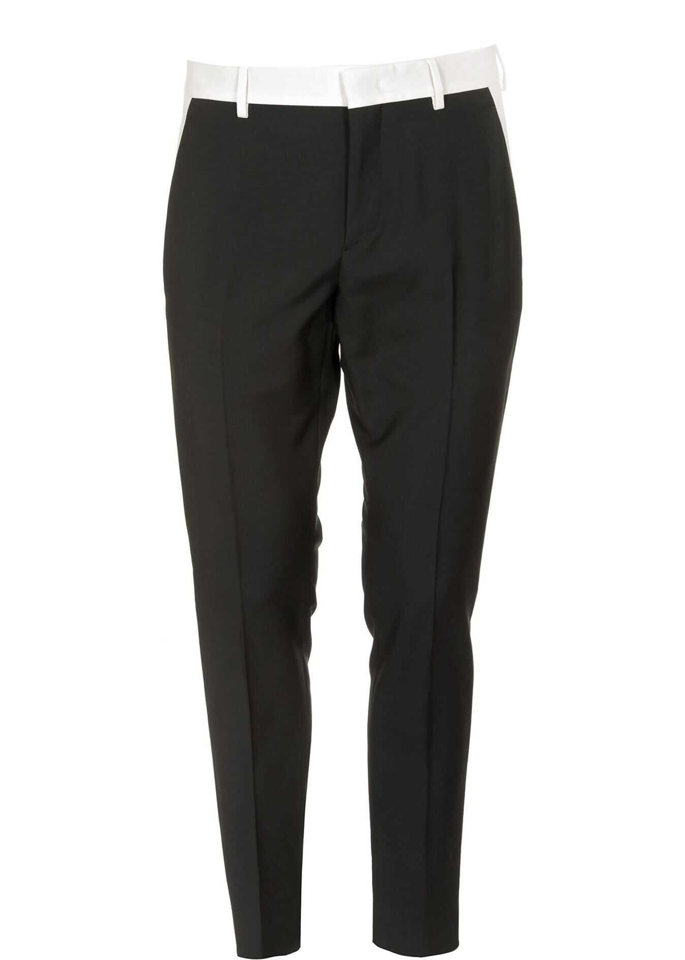 Valentino Garavani White Side Bands Pants In Black Black imagine