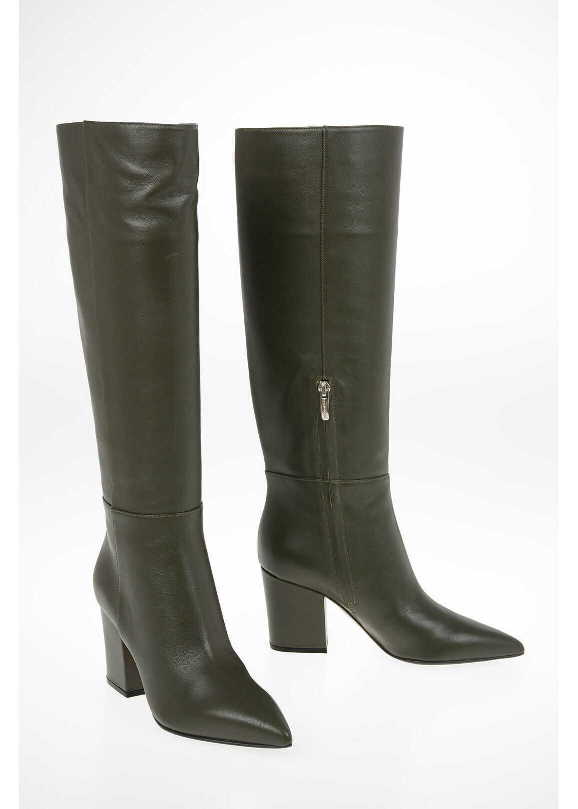 Sergio Rossi Leather SERGIO Boots 7.5cm GREEN imagine b-mall.ro