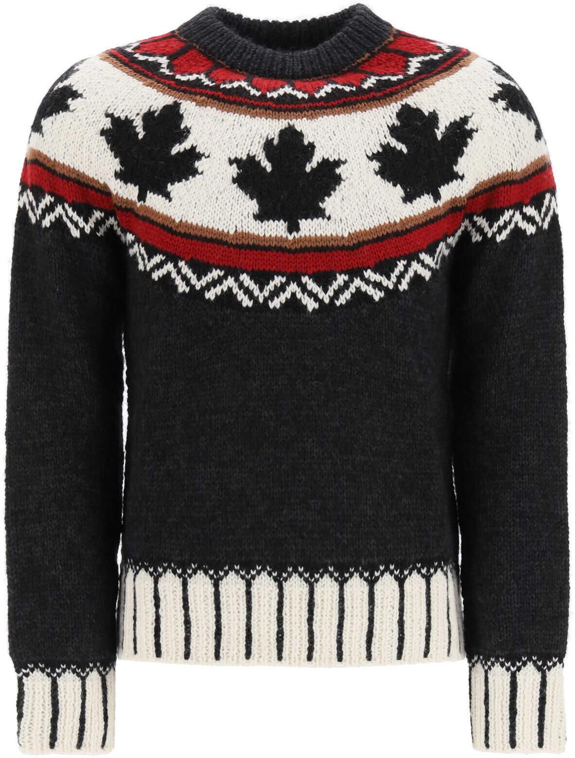 DSQUARED2 Fair Isle Intarsia Sweater GREY imagine