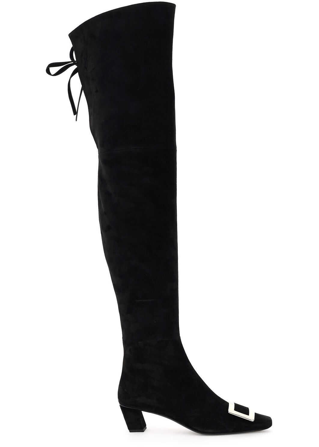 Roger Vivier Vivier Suede Over The Knee Belle Boots RVW00630130HR0 NERO imagine b-mall.ro