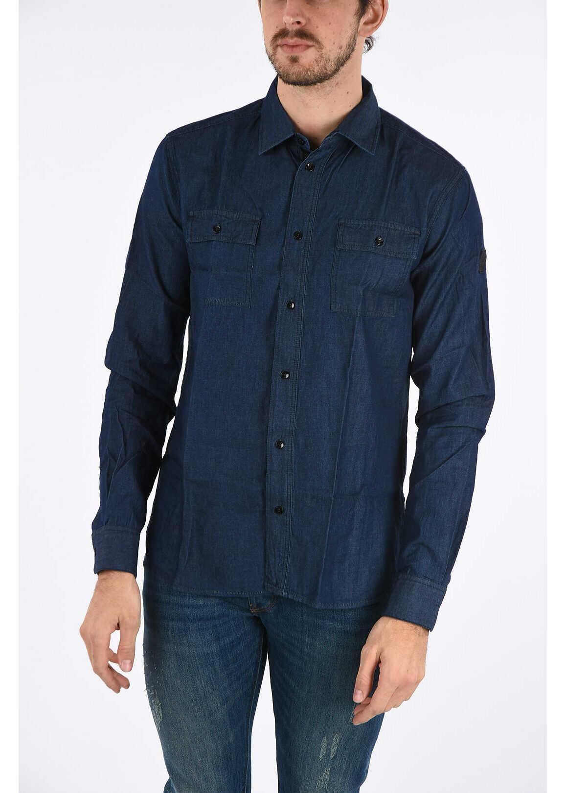 Armani ARMANI JEANS Spread Collar Denim Shirt BLUE imagine