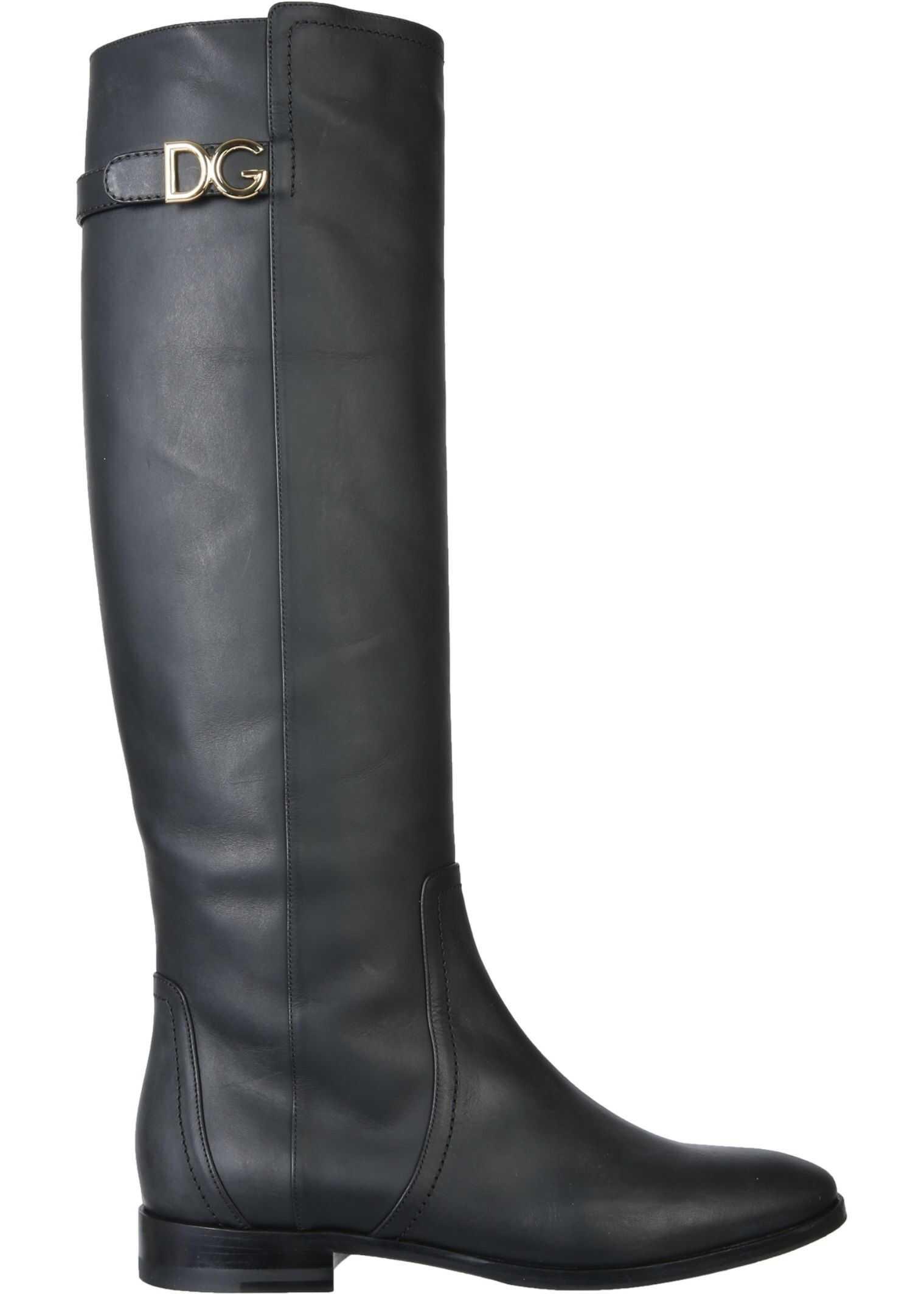 """Dolce & Gabbana """"Caroline"""" Boots CU0644_AW67380999 BLACK imagine b-mall.ro"""