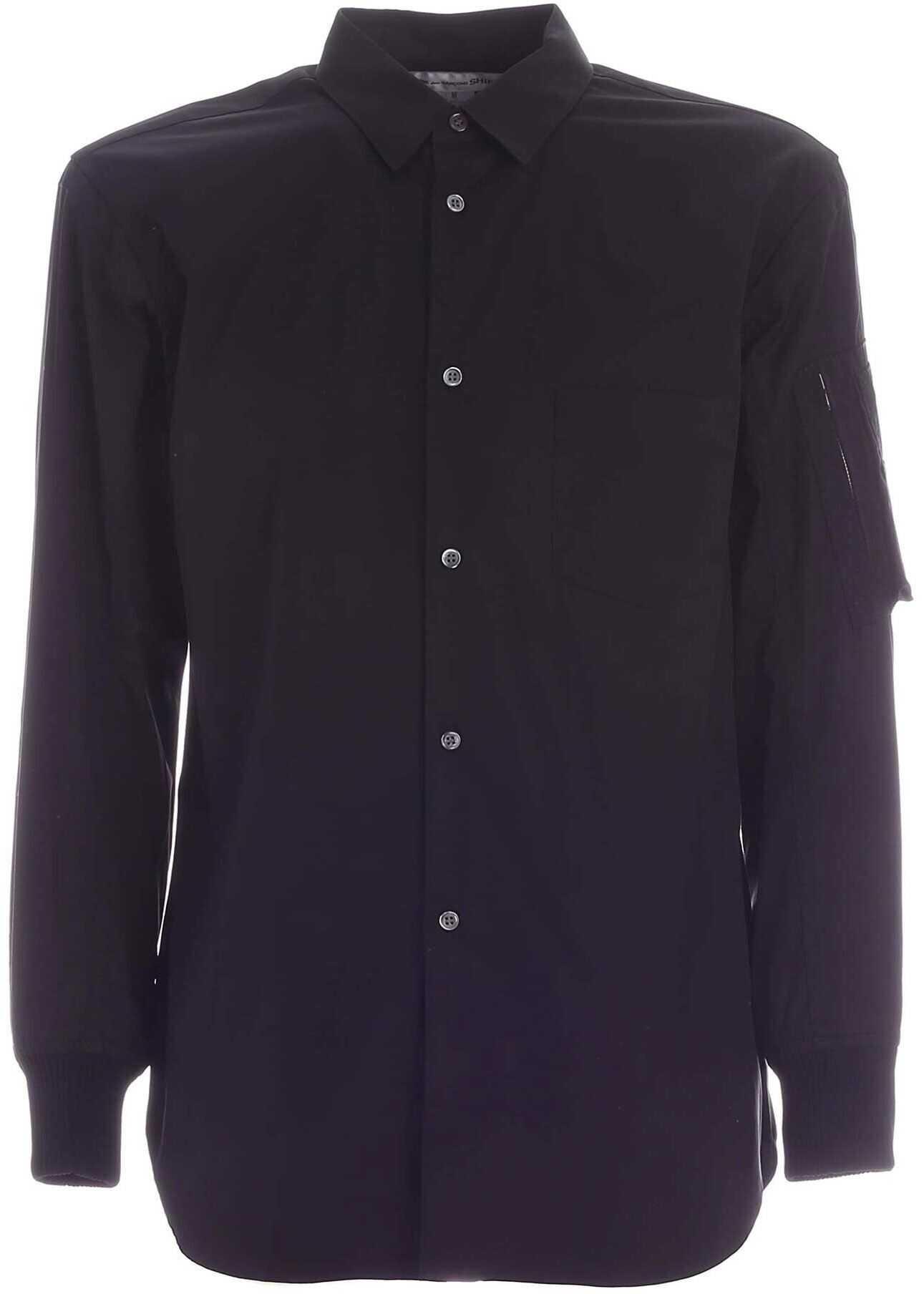 Comme des Garçons Knitted Cuffs Shirt In Black Black imagine