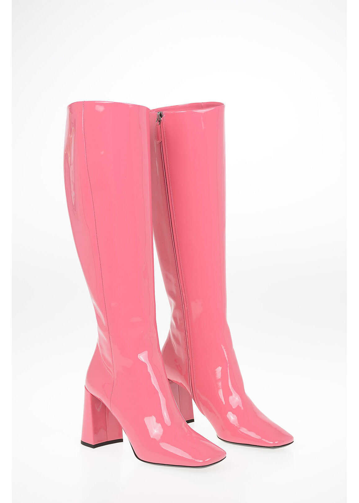 Prada Lacquered Leather Knee Length Boots 9 cm PINK imagine b-mall.ro