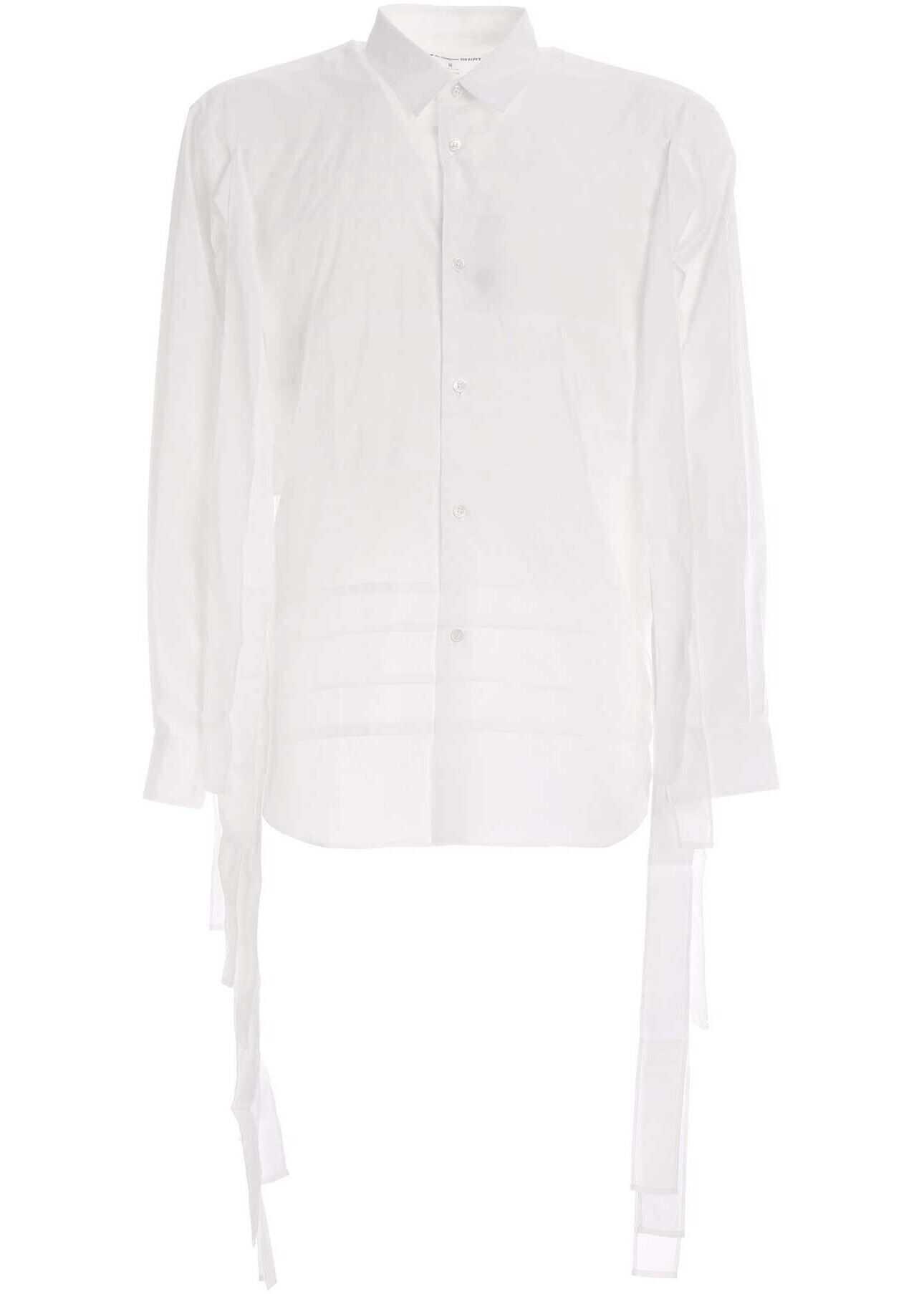 Comme des Garçons Laces Shirt In White White imagine
