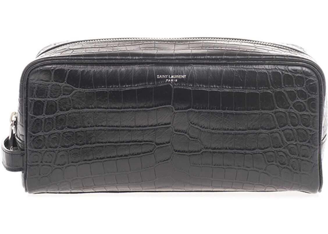 Saint Laurent Croco Print Beaty Case In Black 609347 DZE0E 1000 Black imagine b-mall.ro