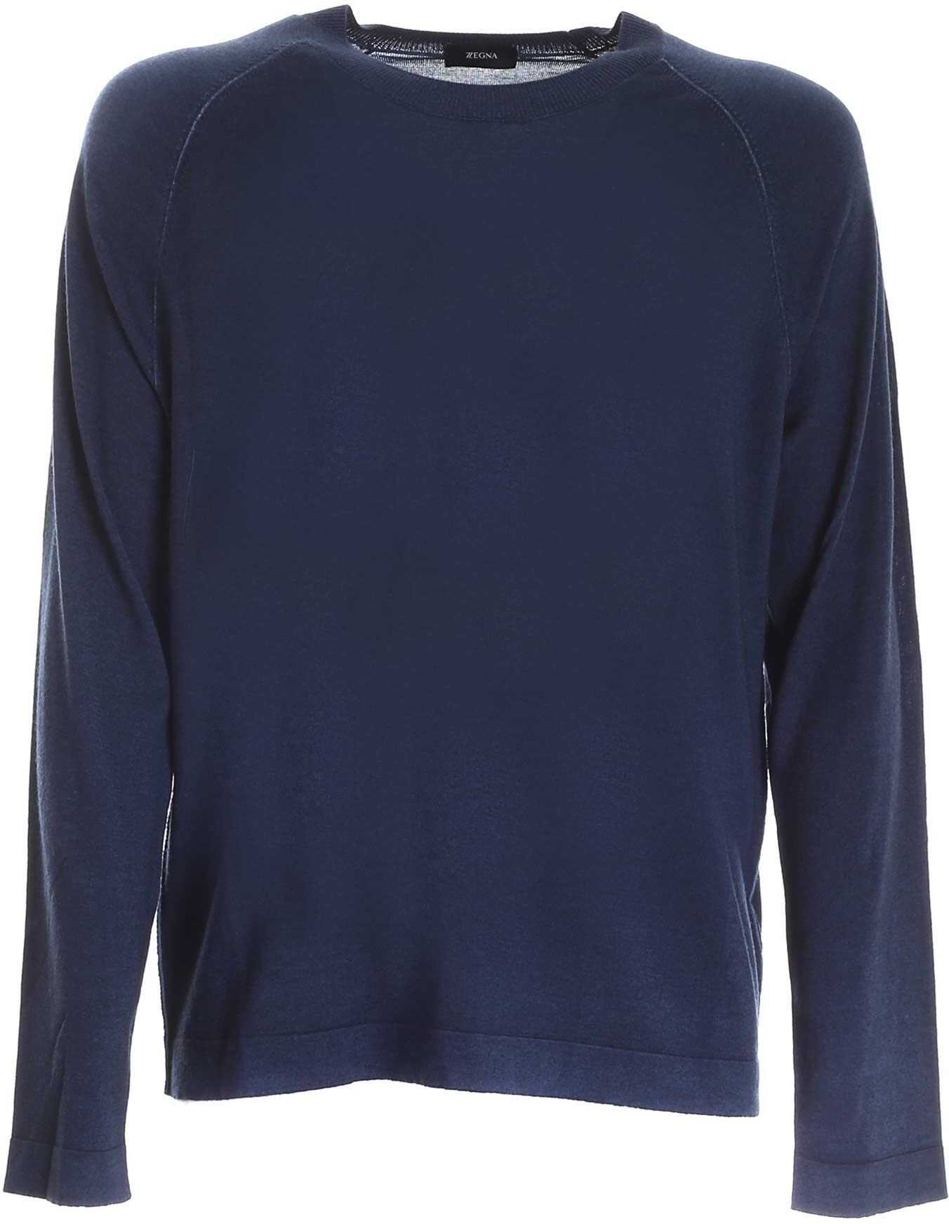 Z Zegna Pullover In Blue Melange With Reverse Stitching Blue imagine