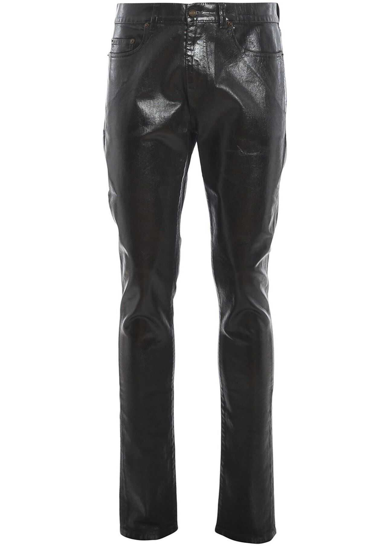 Saint Laurent Coated Effect Jeans In Black Black imagine