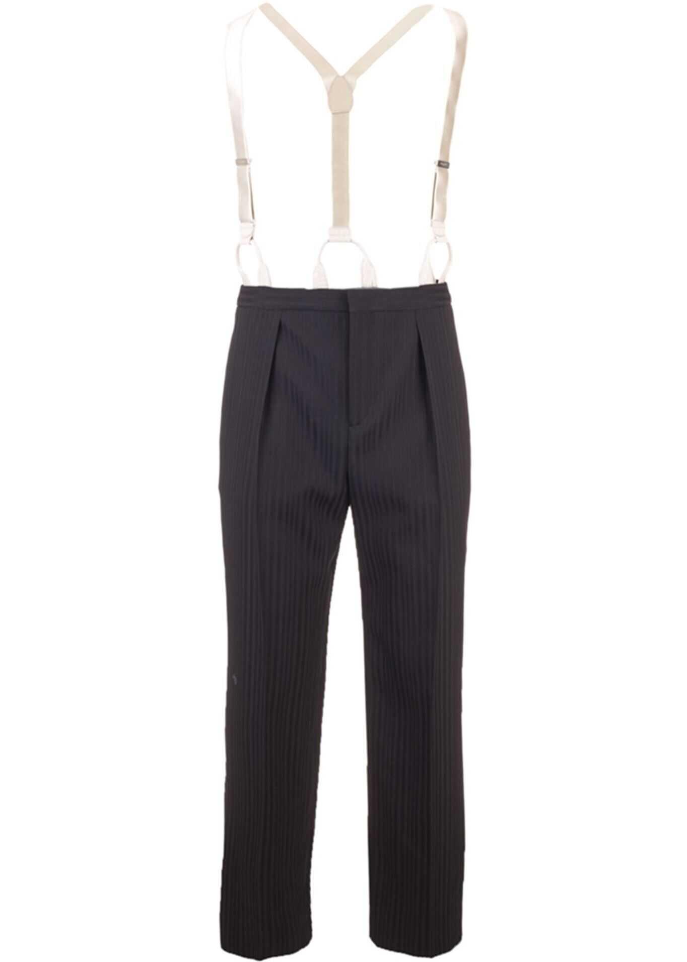 Saint Laurent Wool Pants In Black Black imagine