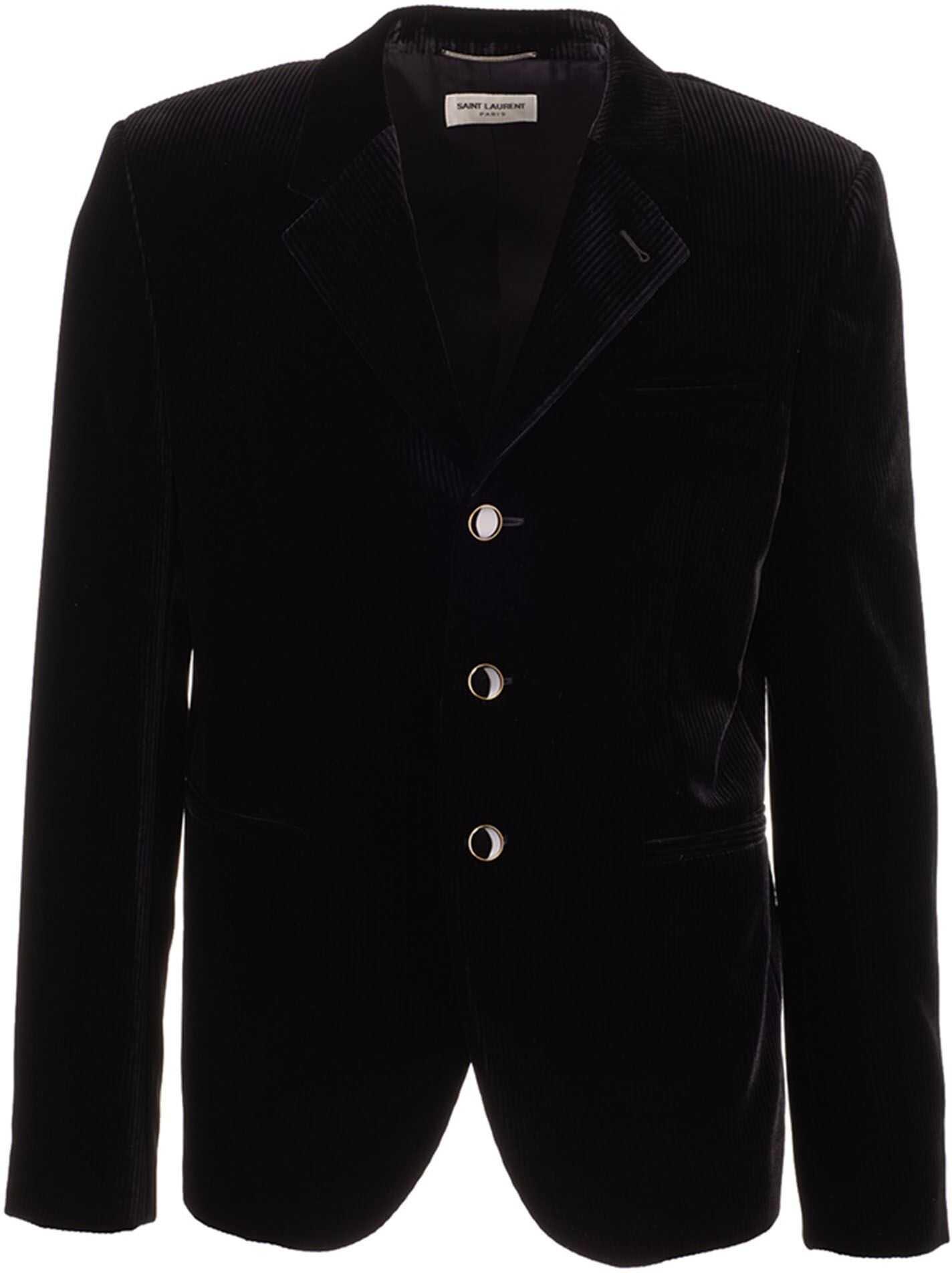 Saint Laurent Single Breasted Velvet Jacket In Black Black imagine