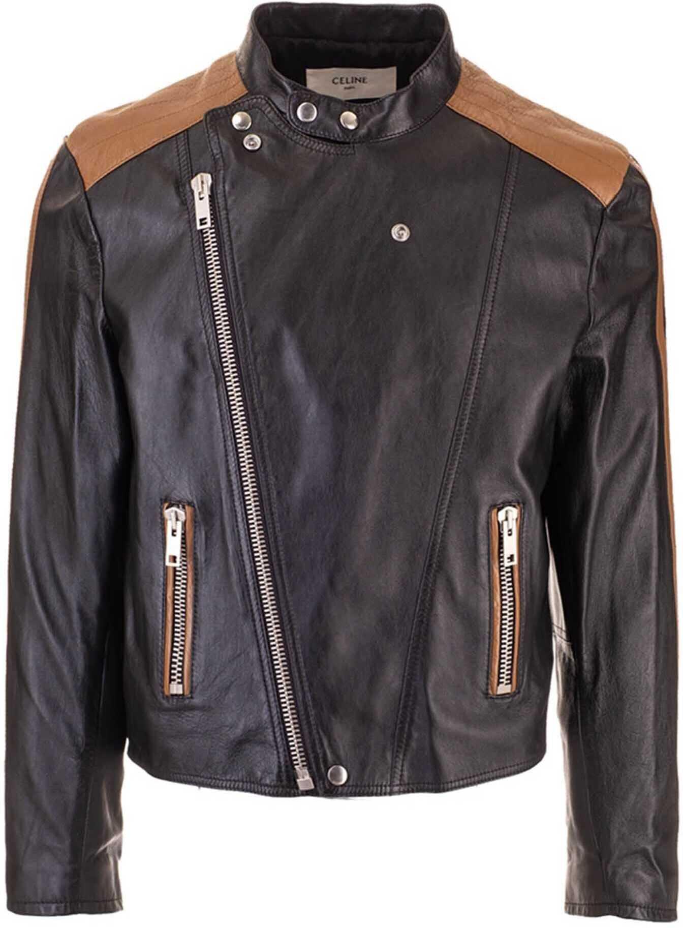Céline Cafe Racer Leather Jacket In Black Black imagine