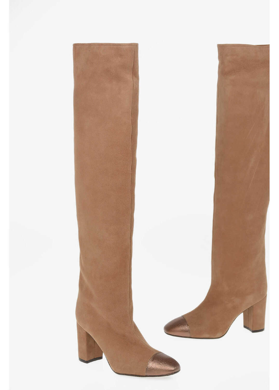 Stuart Weitzman Suede KIMBERLY Pull Over the Knee Boots 8.5cm BEIGE imagine b-mall.ro