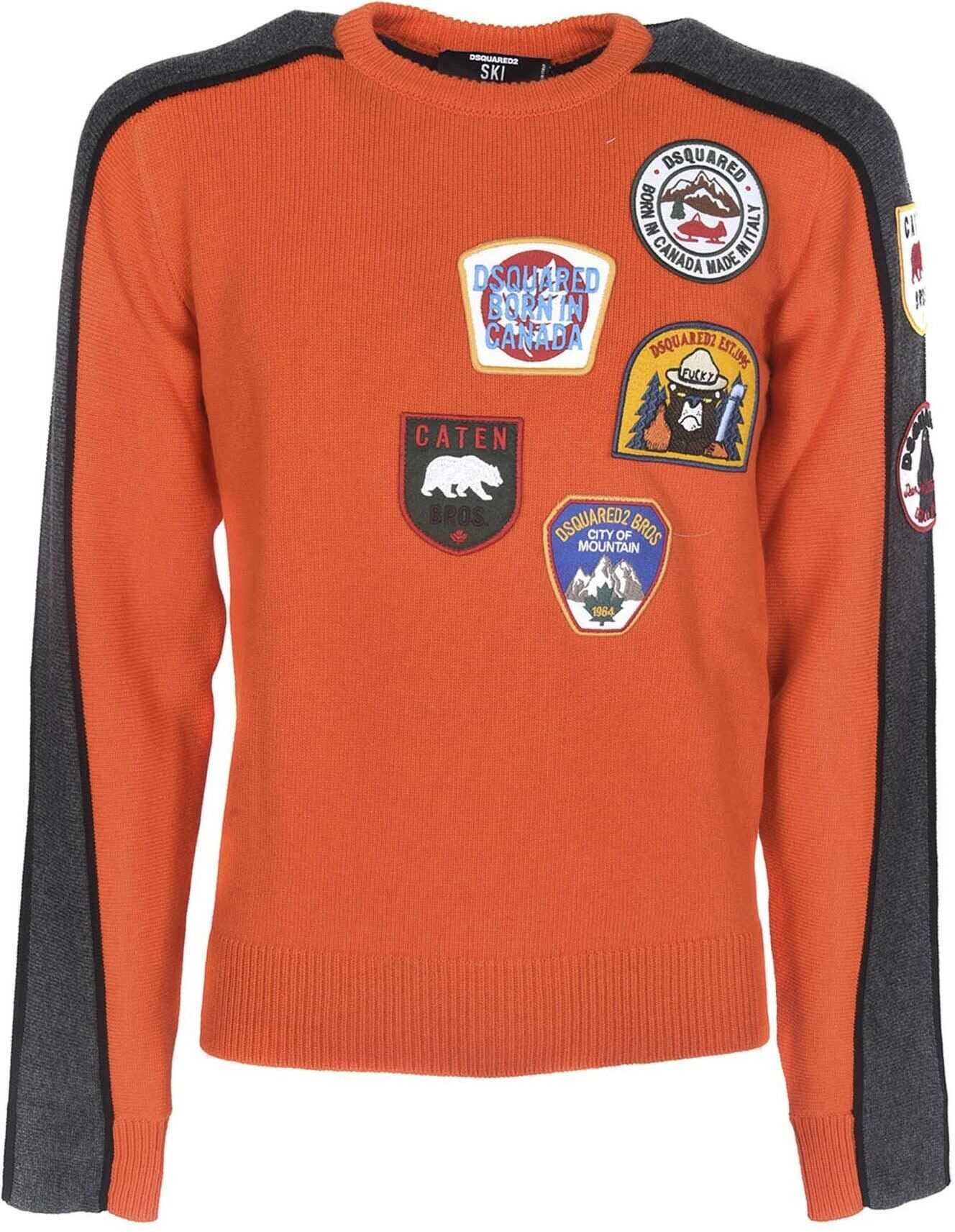 DSQUARED2 Pullover With Patch In Orange Color Orange imagine