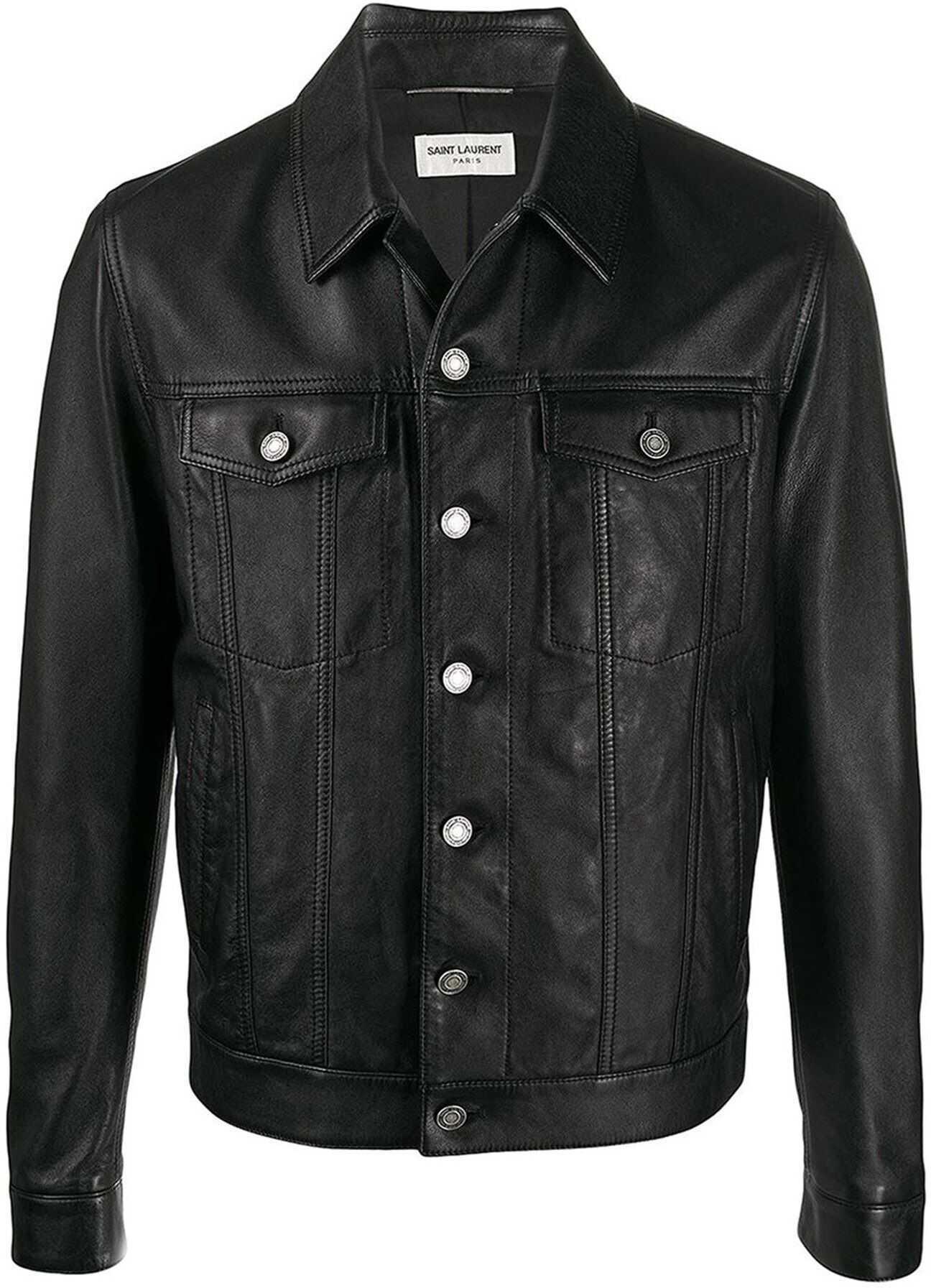 Saint Laurent Napa Leather Jacket In Black Black imagine