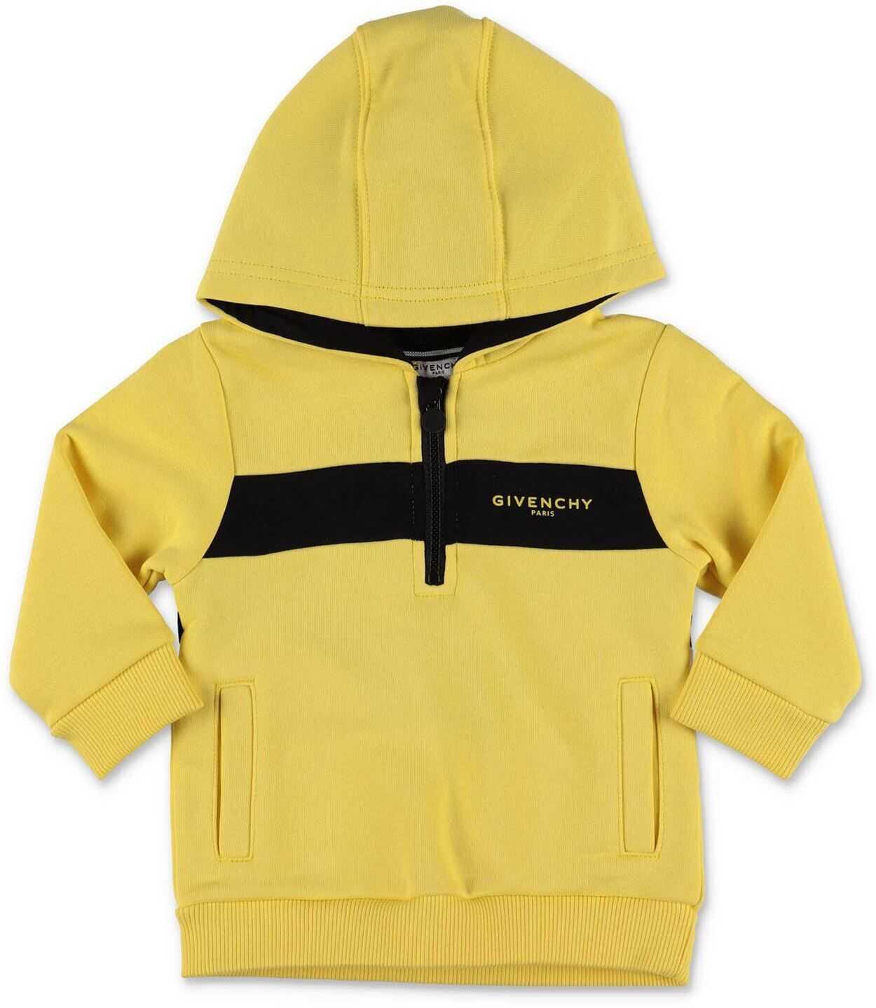 Givenchy Zip And Hood Sweatshirt In Yellow Yellow