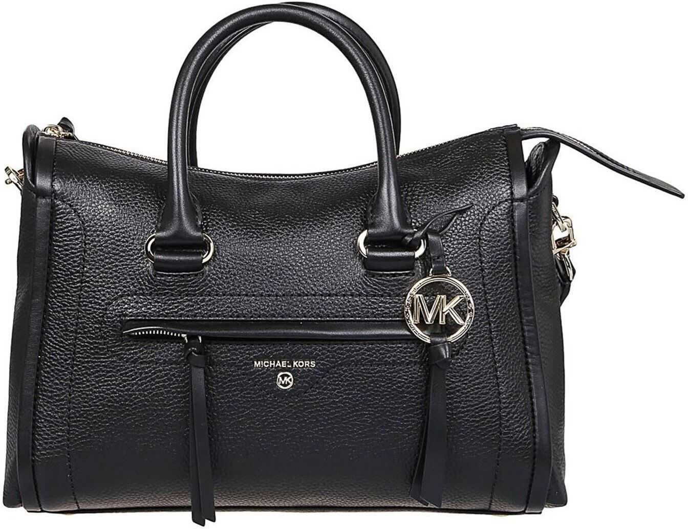 Michael Kors Carine Medium Bag In Black 30S0GCCS2L BLACK Black imagine b-mall.ro