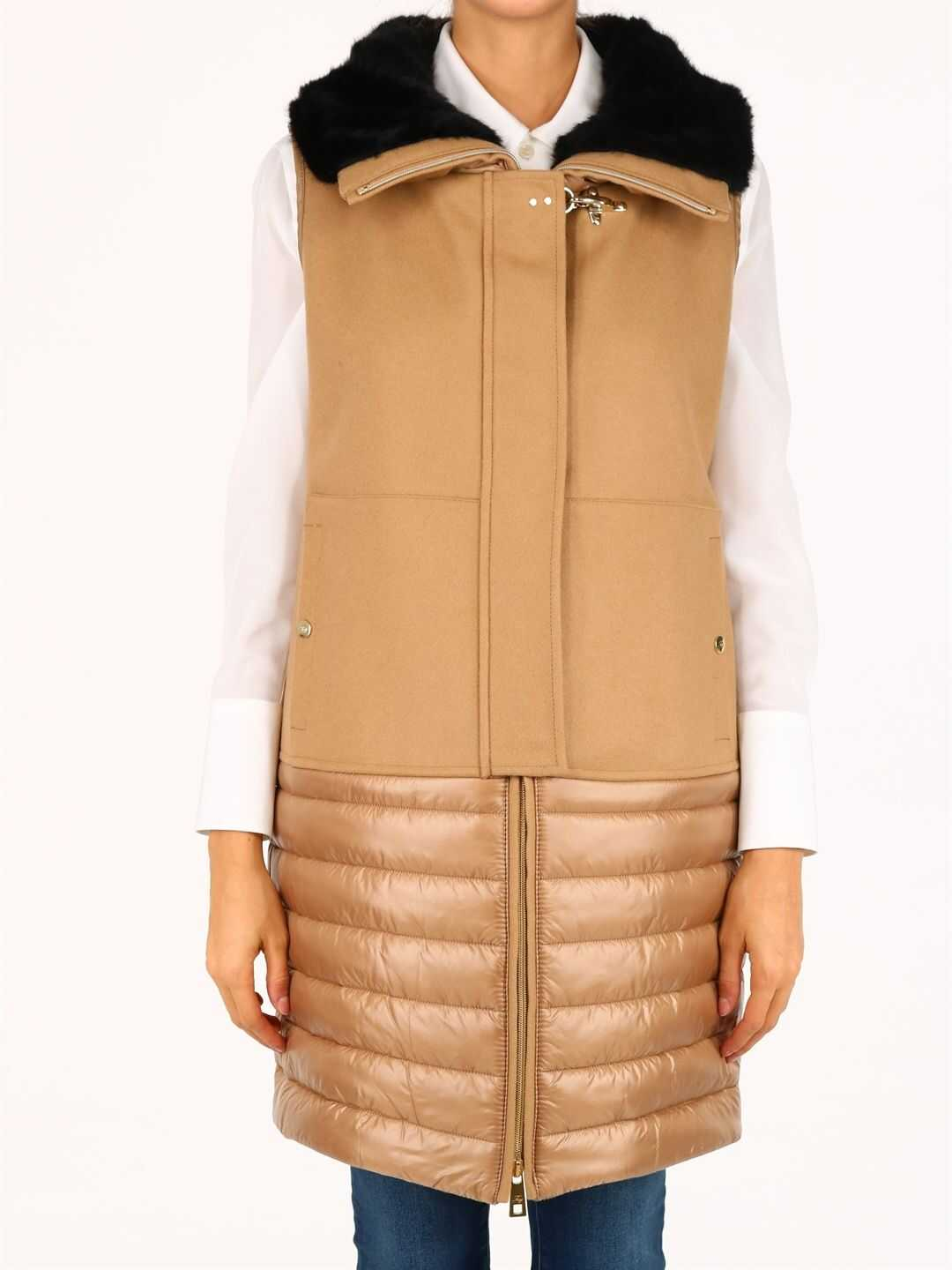 Fay Quilted Vest Camel Beige