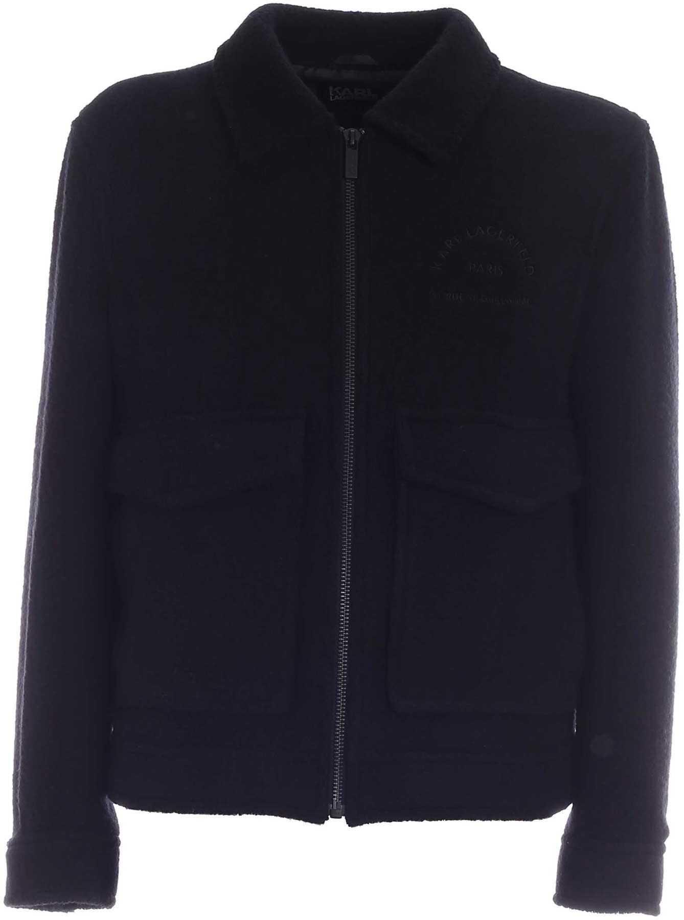 Karl Lagerfeld Logo Embroidery Wool Jacket In Black Black imagine