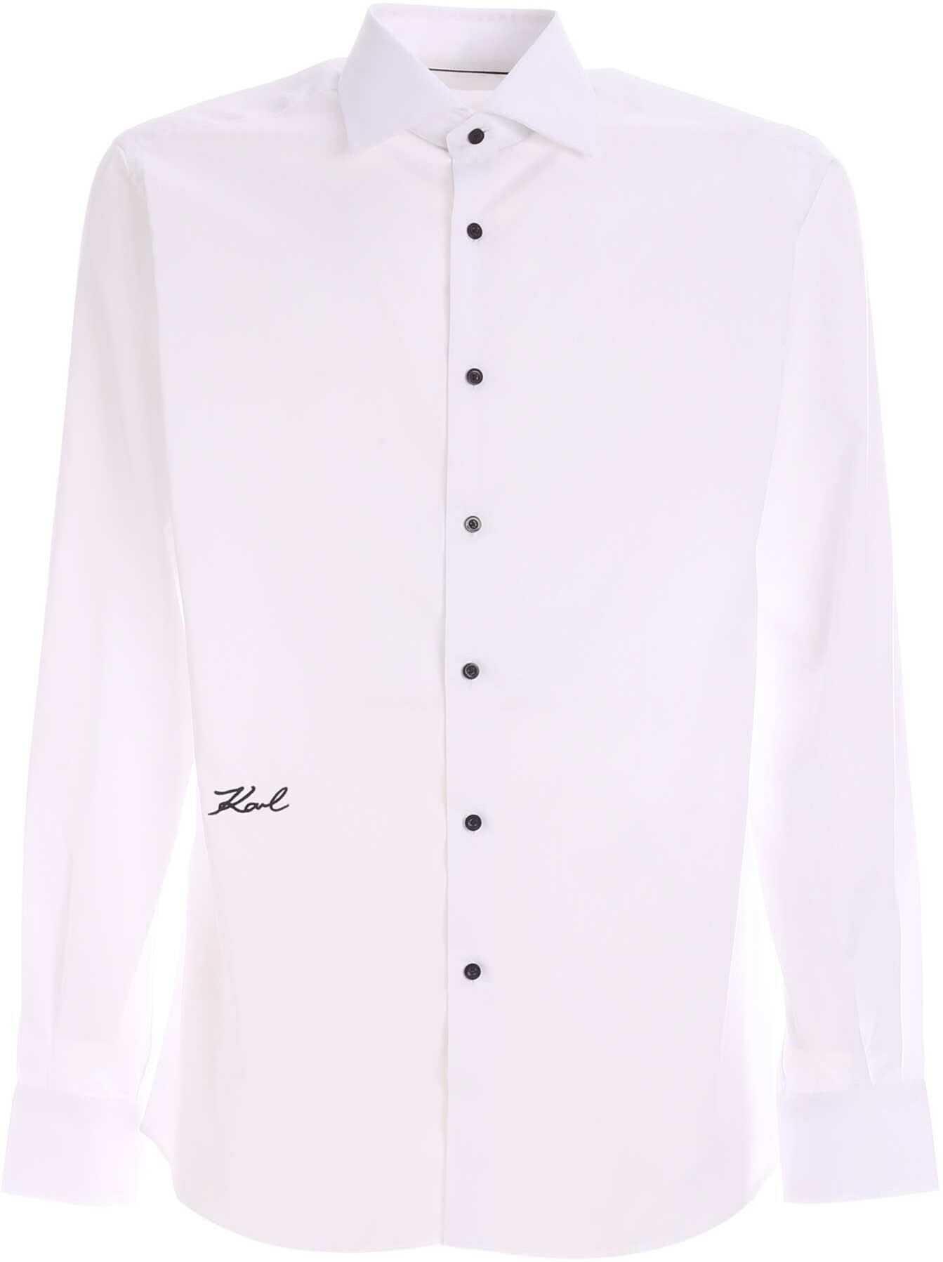 Karl Lagerfeld Signature Logo Shirt In White White imagine