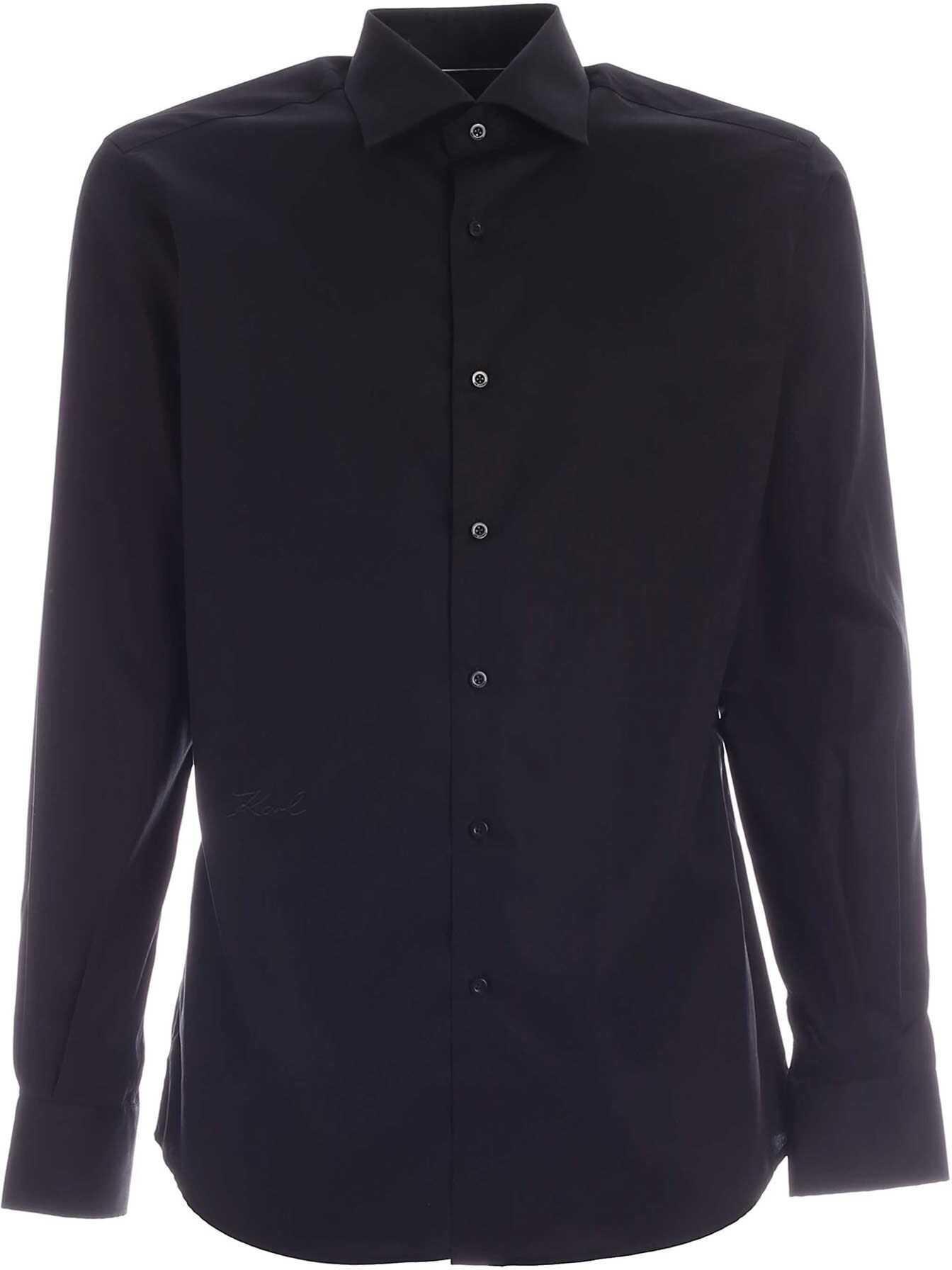 Karl Lagerfeld Signature Logo Shirt In Black Black imagine