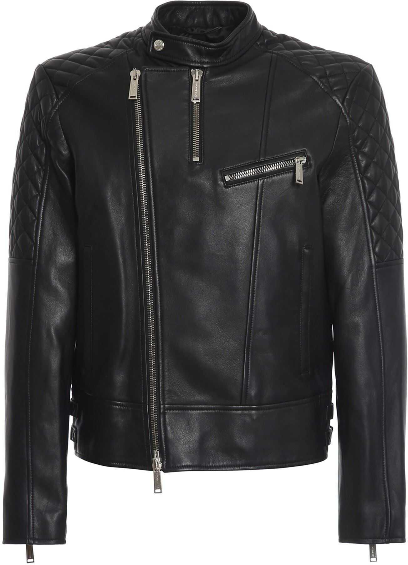 DSQUARED2 Lambskin Biker Jacket In Black Black imagine