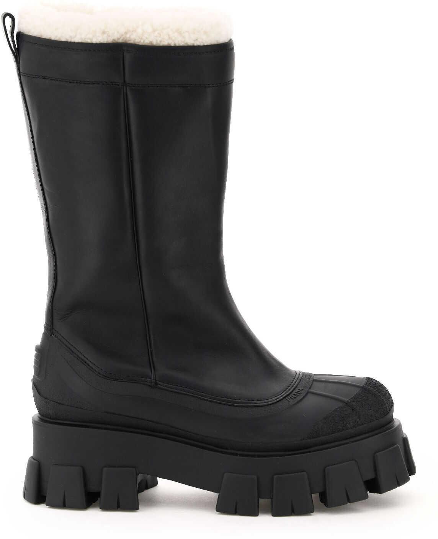 Prada Monolith Shell Shearling Boots 1W380M 3A6N NERO NATURALE imagine b-mall.ro