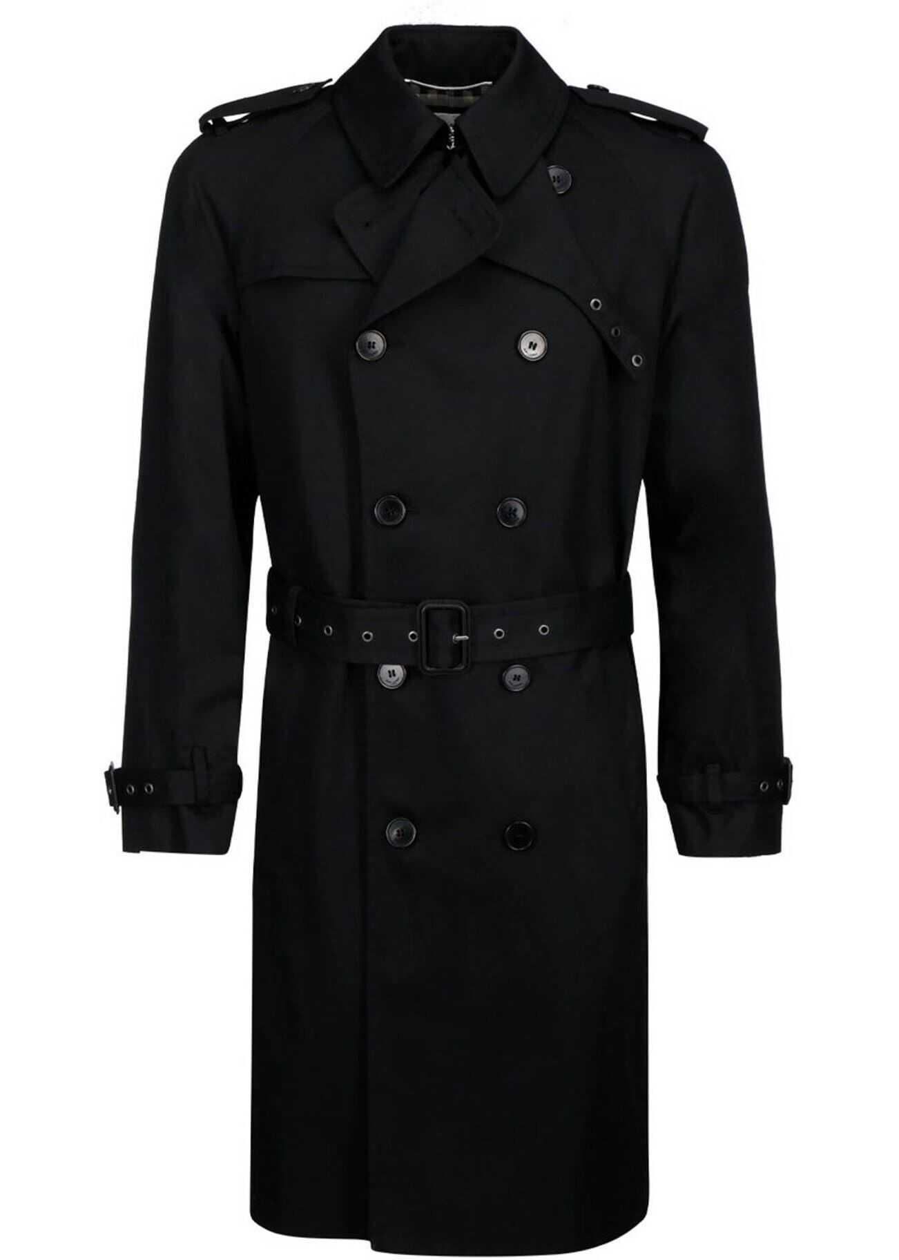 Saint Laurent Gabardine Trench Coat In Black Black imagine
