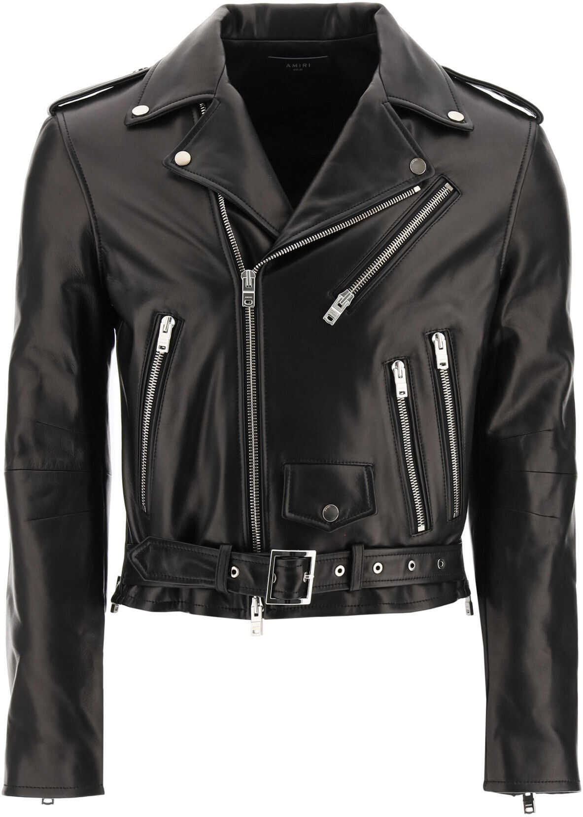 AMIRI Leather Biker Jacket BLACK imagine