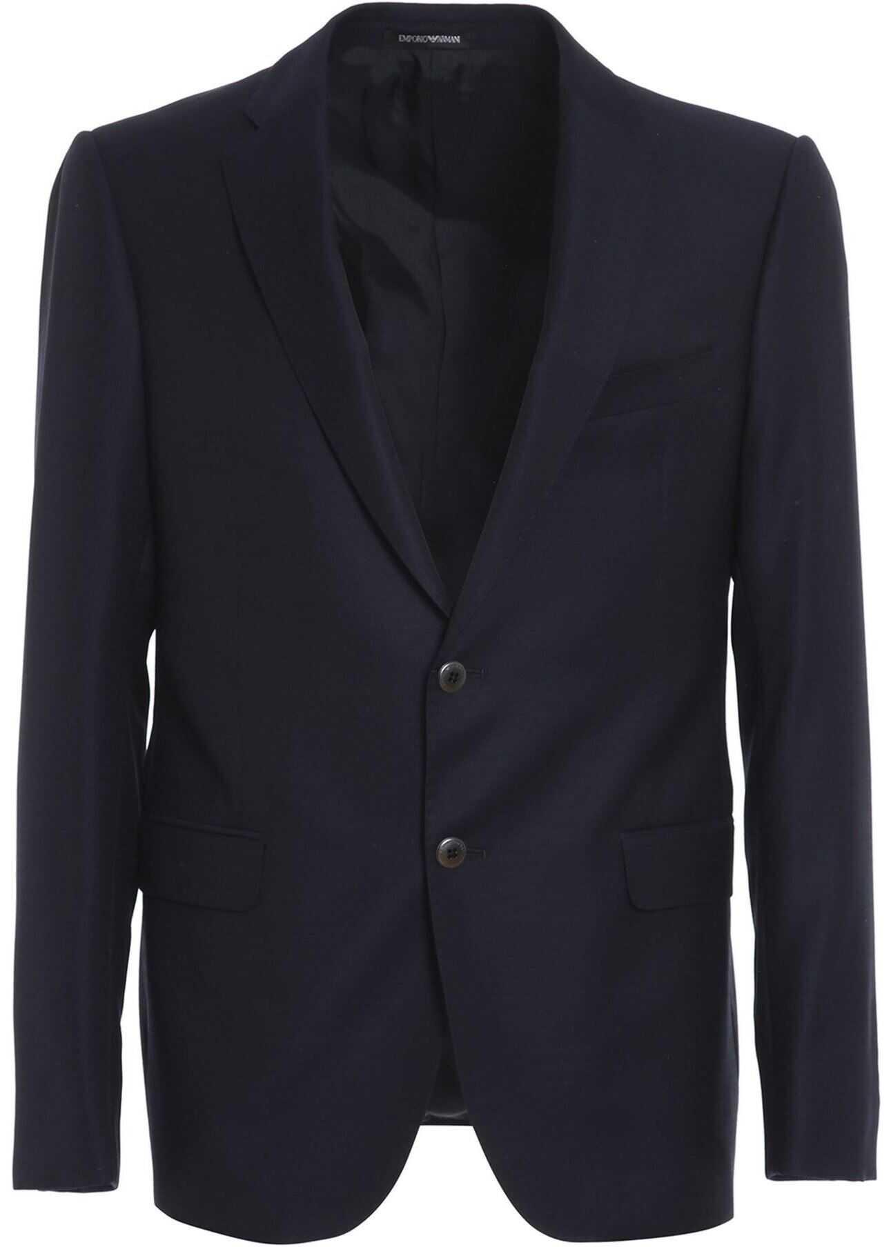 Emporio Armani Textured Wool Blazer In Blue Blue imagine