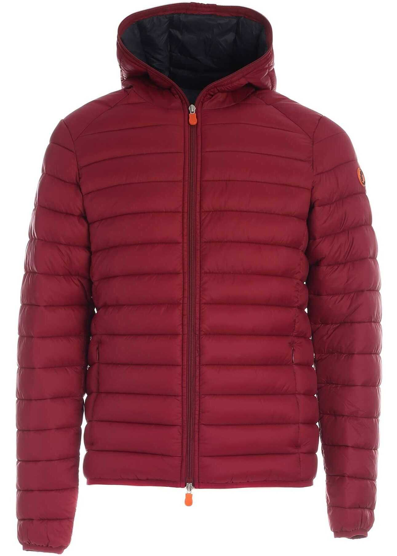 Save the Duck Quilted Puffer Jacket In Burgundy Red imagine