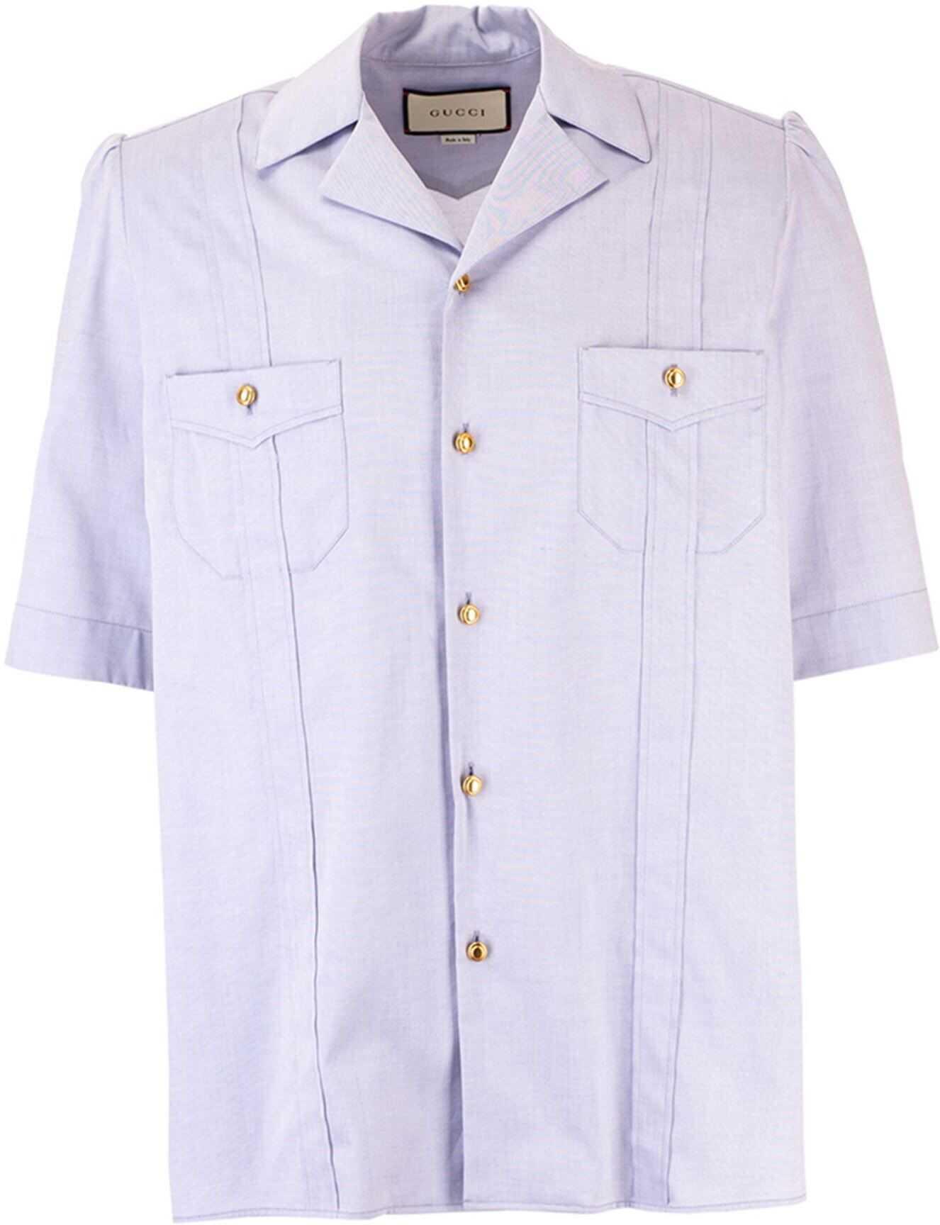 Gucci Short Sleeve Oxford Shirt In Light Blue Light Blue imagine