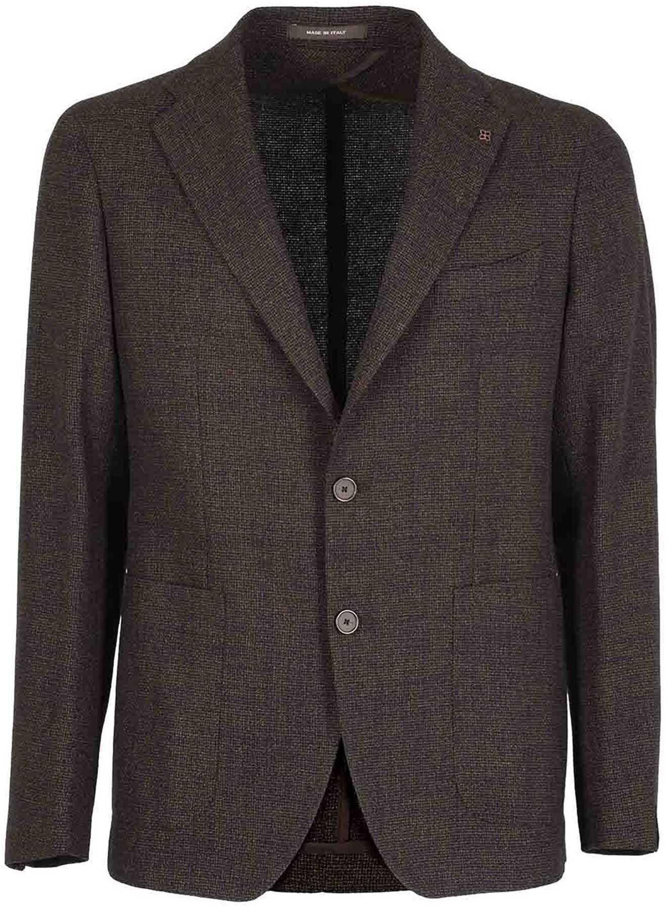 Tagliatore Montecarlo Wool Bland Blazer In Brown Brown imagine
