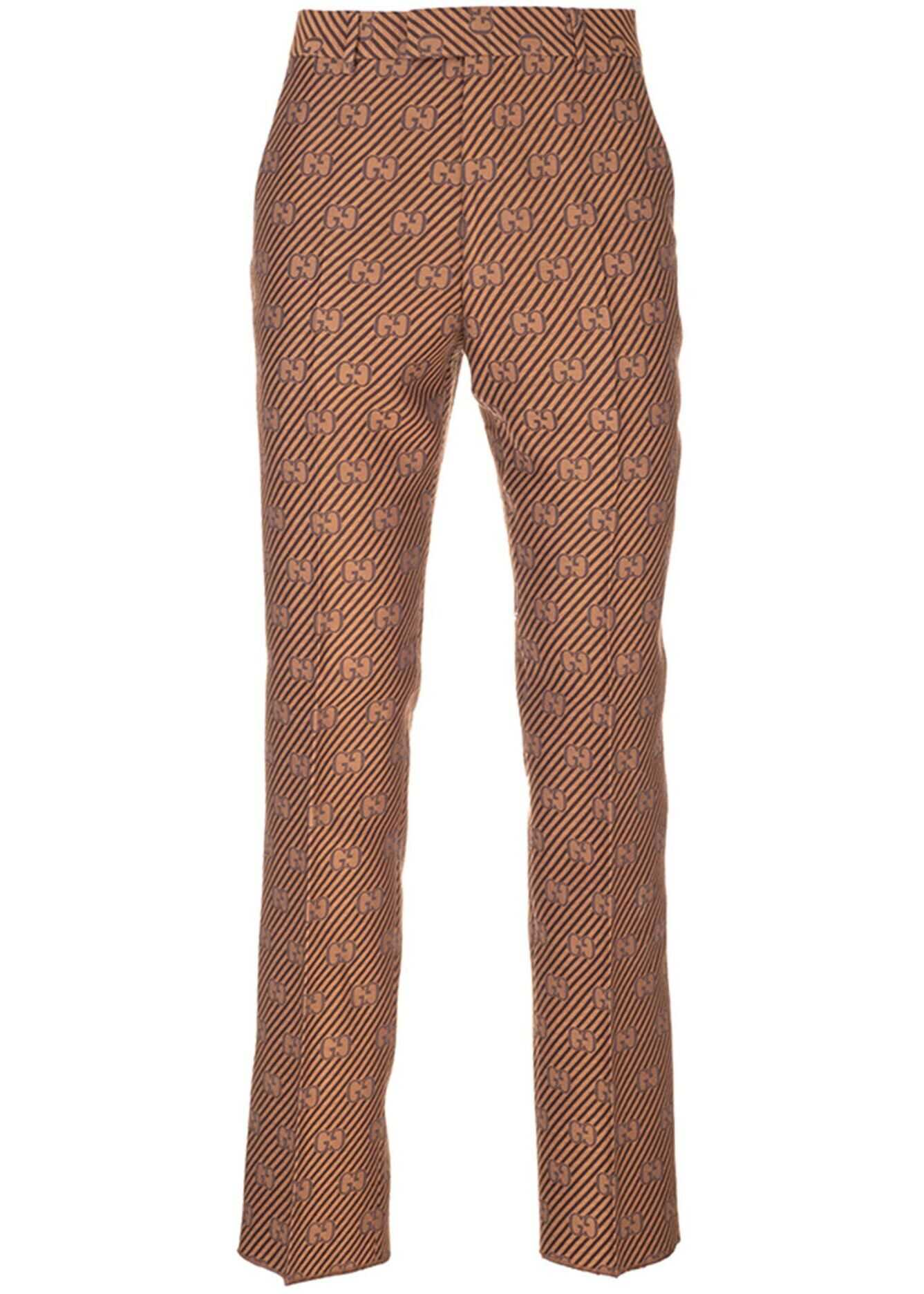 Gucci Gg Tailored Pants In Brown And Beige Brown imagine