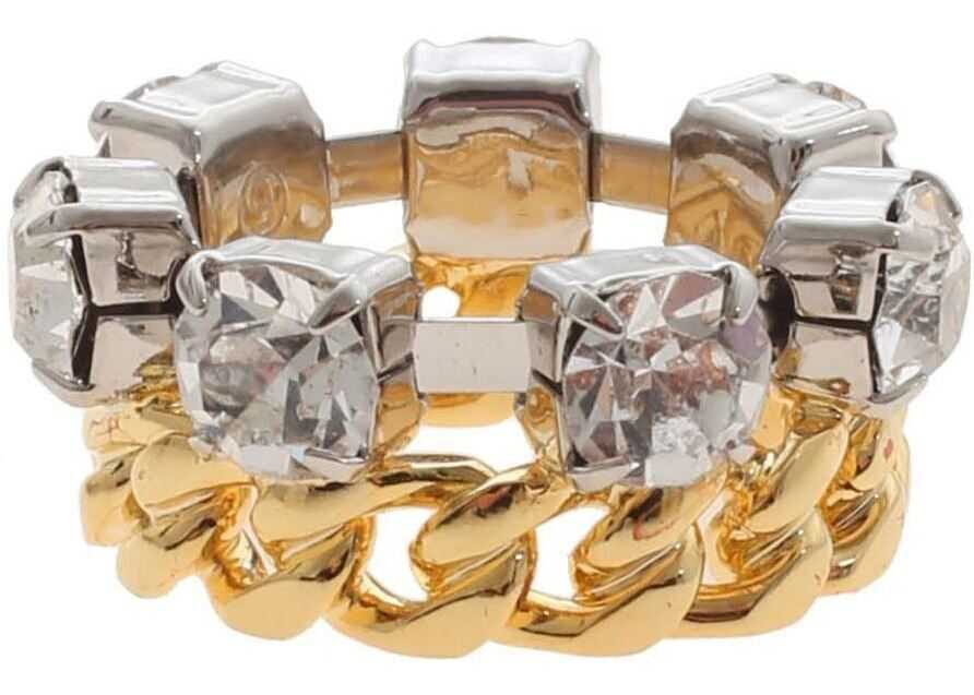 MM6 Maison Margiela Jewel Ring In Gold And Silver Silver