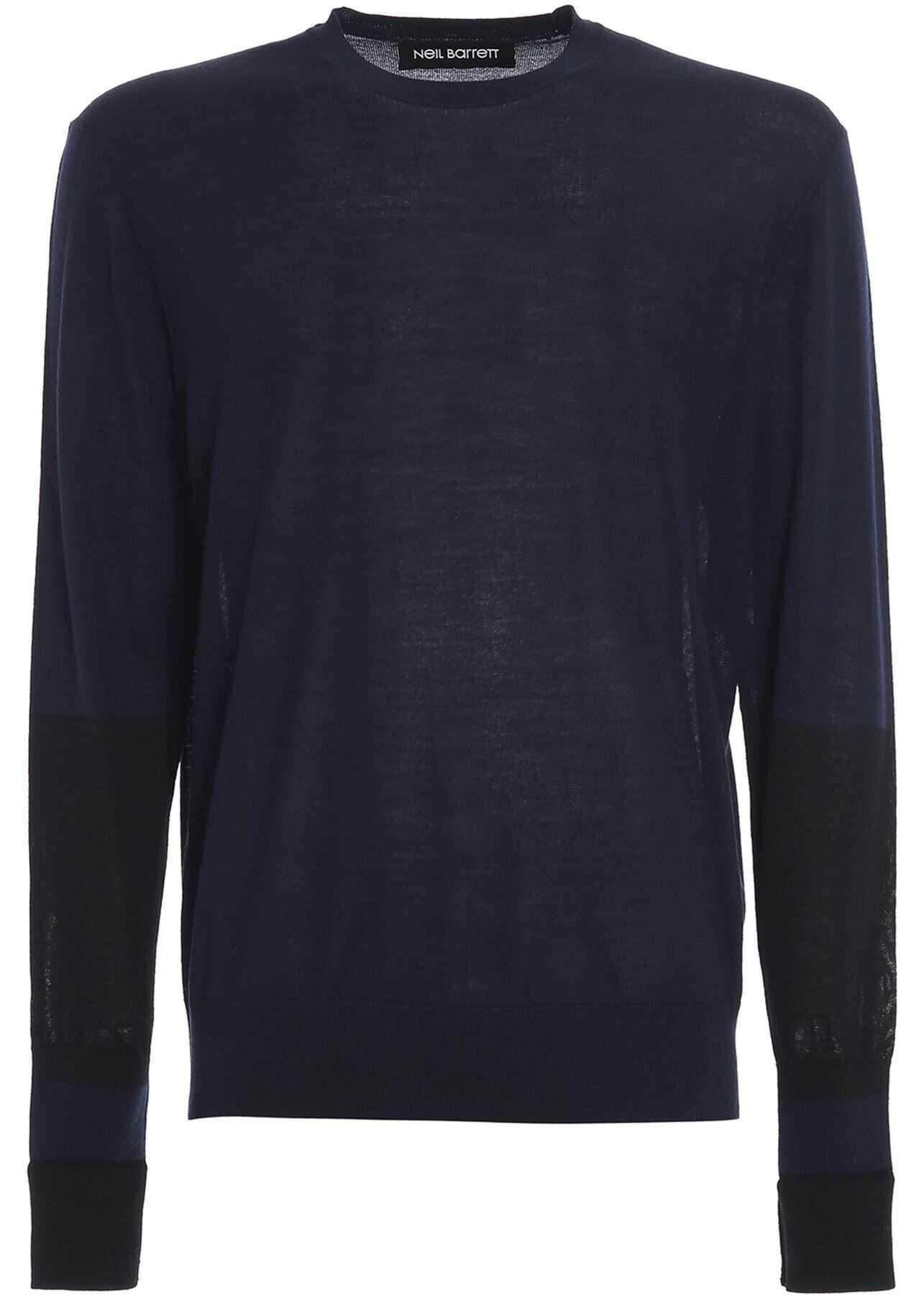 Neil Barrett Wool-Silk Blend Sweater In Blue Blue imagine