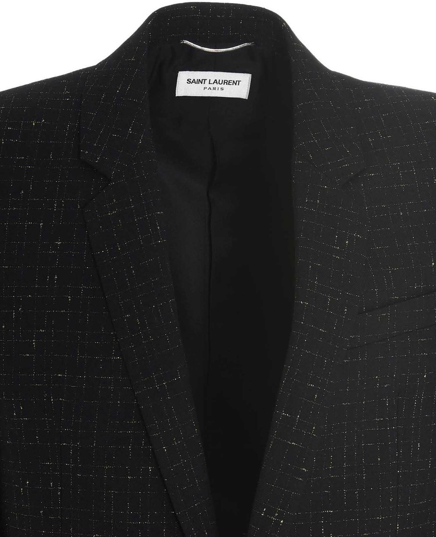 Saint Laurent Serge Blazer In Black Lamé Black imagine