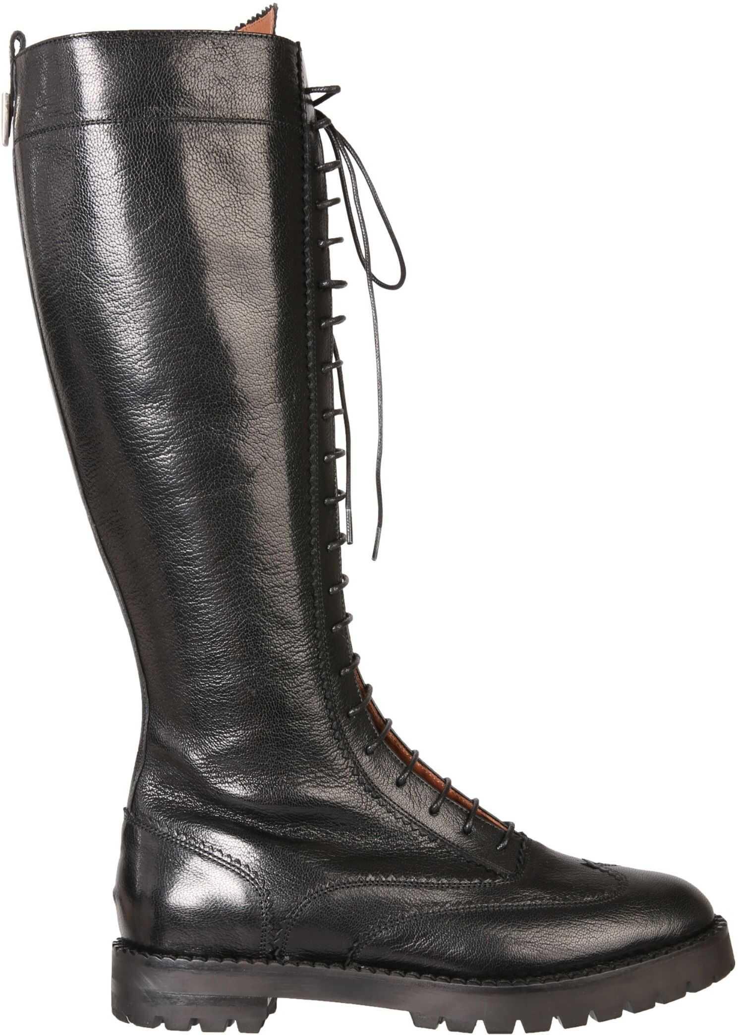 L'Autre Chose High Boots With Laces LDM020_24661001 BLACK imagine b-mall.ro