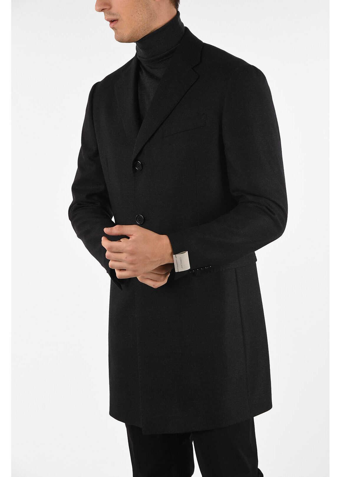 CORNELIANI three-quarter length 3-button coat GRAY imagine