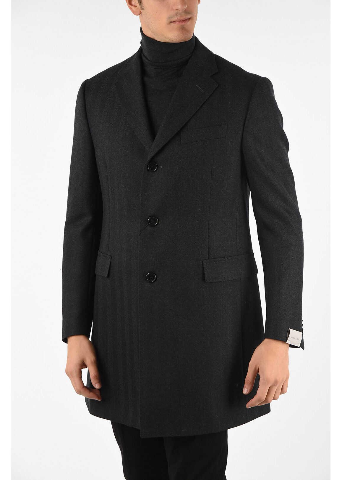 CORNELIANI plain herringbone 3-button coat GRAY imagine