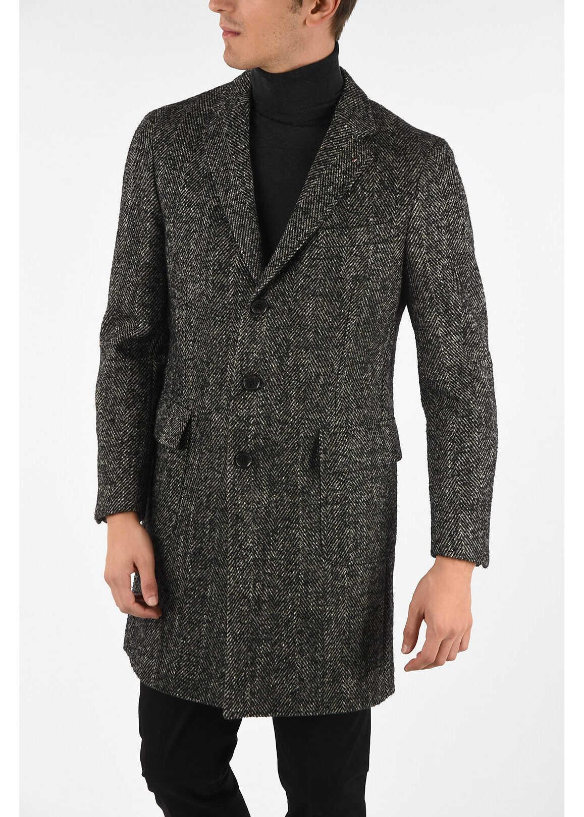 CORNELIANI CC COLLECTION plain herringbone three-quarter length coat GRAY imagine