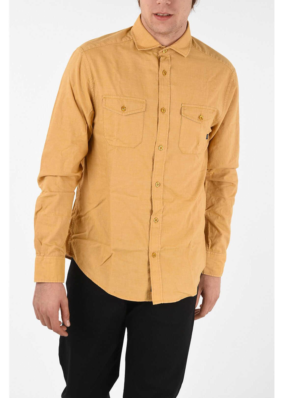 Armani ARMANI JEANS Spread Collar Custom Fit Shirt YELLOW imagine
