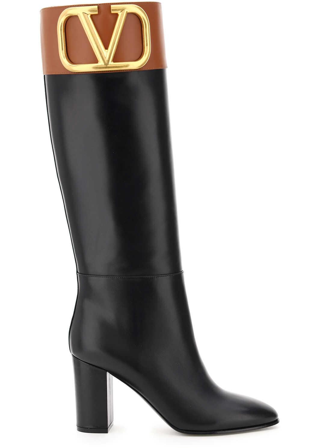 Valentino Garavani Supervee Two-Tone Leather Boots UW2S0Z94AXA NERO SELLERIA imagine b-mall.ro