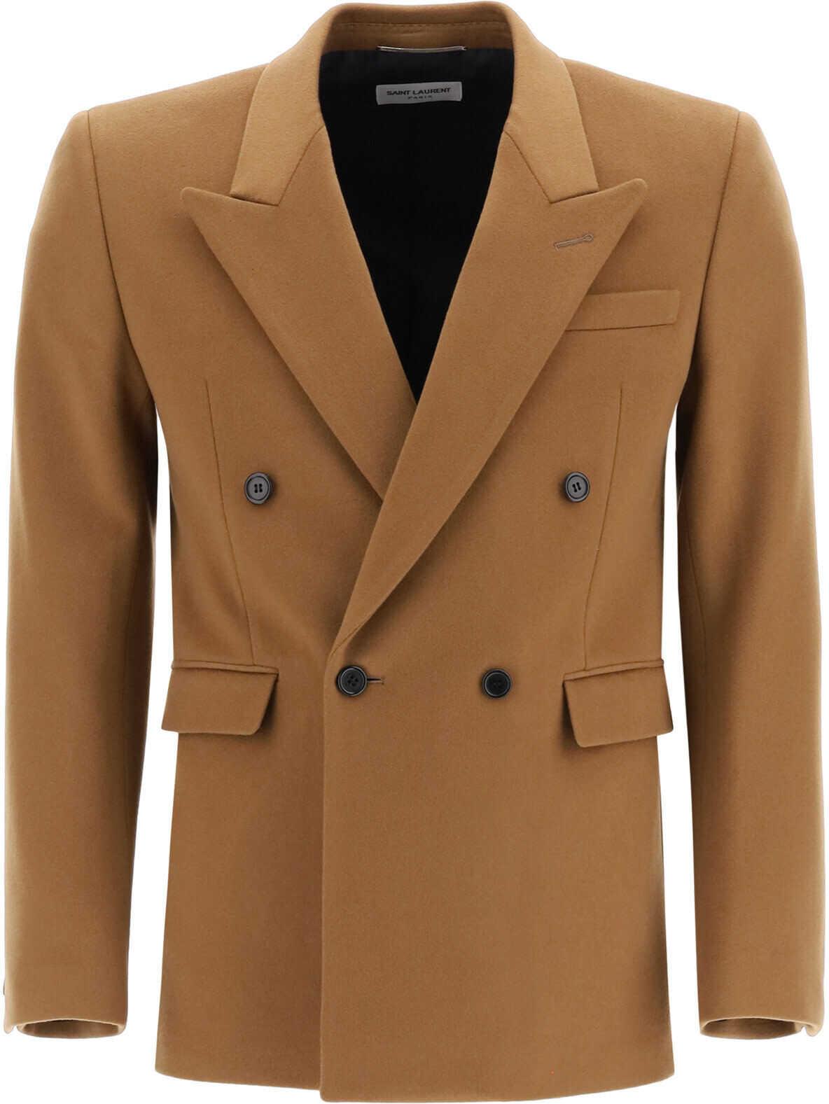 Saint Laurent Double-Breasted Jacket CAMEL VINTAGE imagine