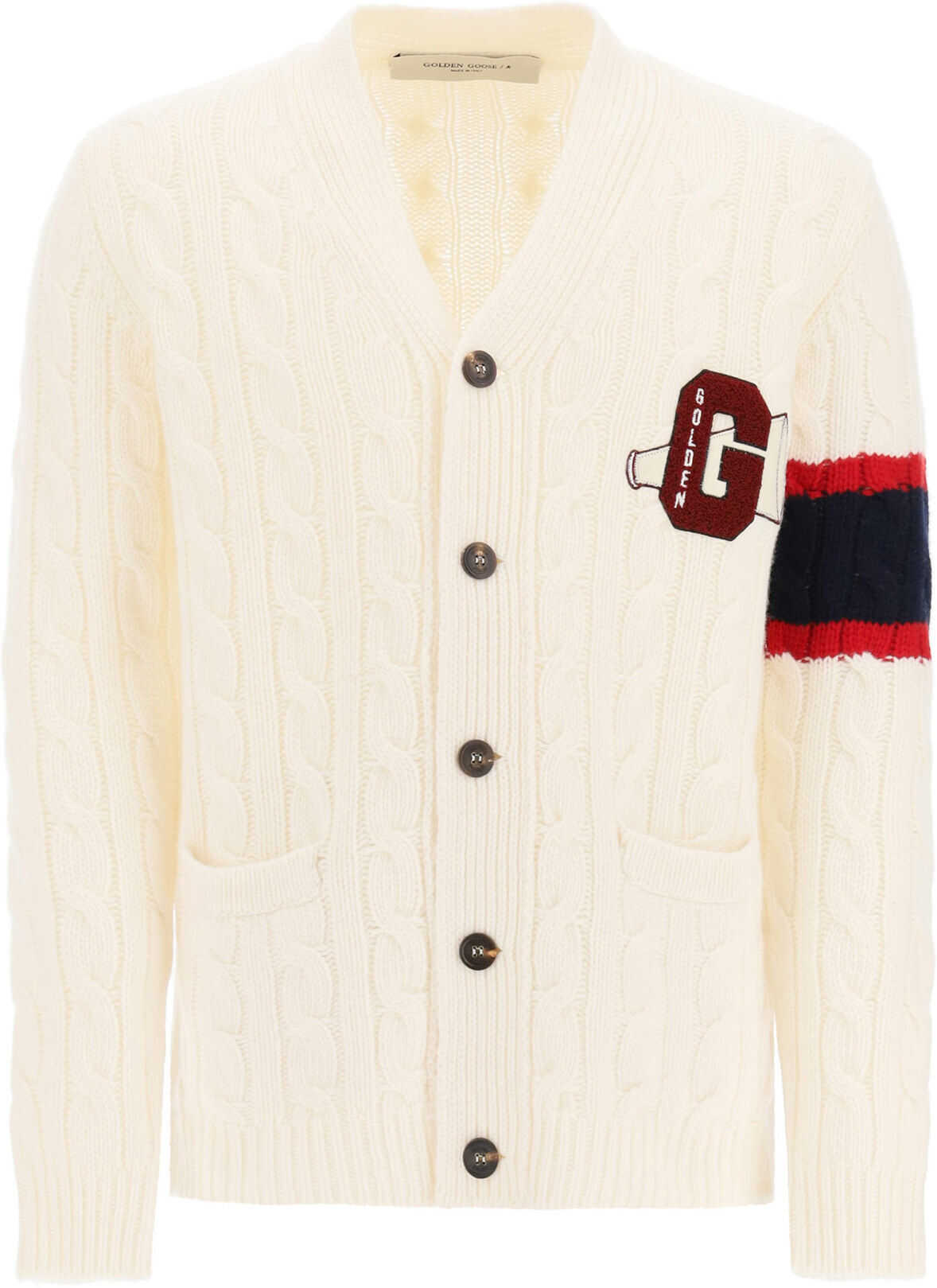 Golden Goose Anson Cardigan With Logo Patch OFF WHITE imagine
