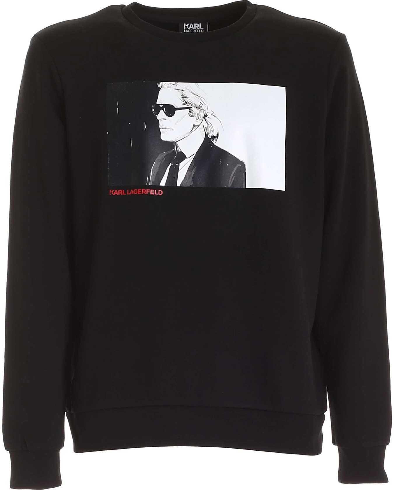 Karl Lagerfeld Crewneck Sweatshirt In Black Black imagine