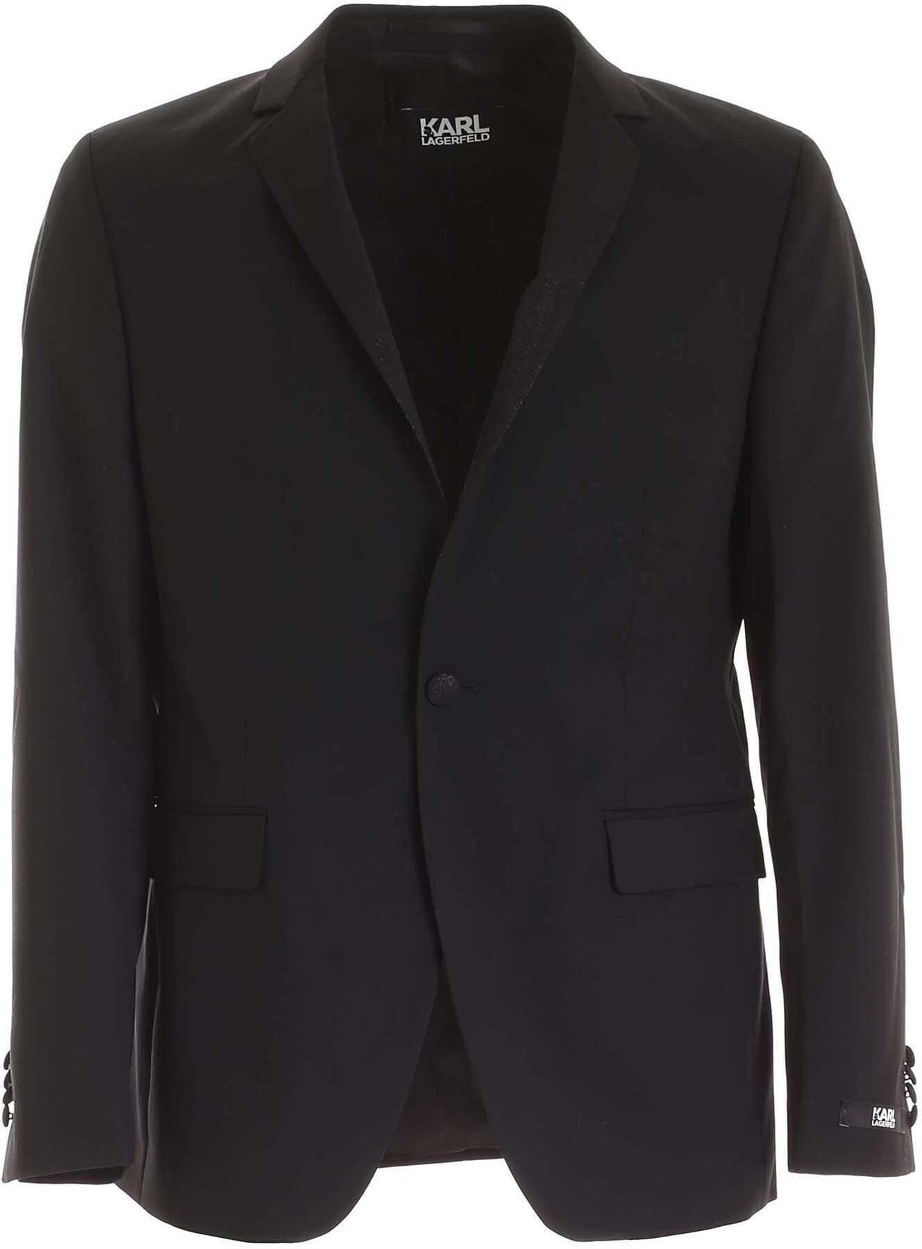 Karl Lagerfeld Lamé Detail Jacket In Black Black imagine