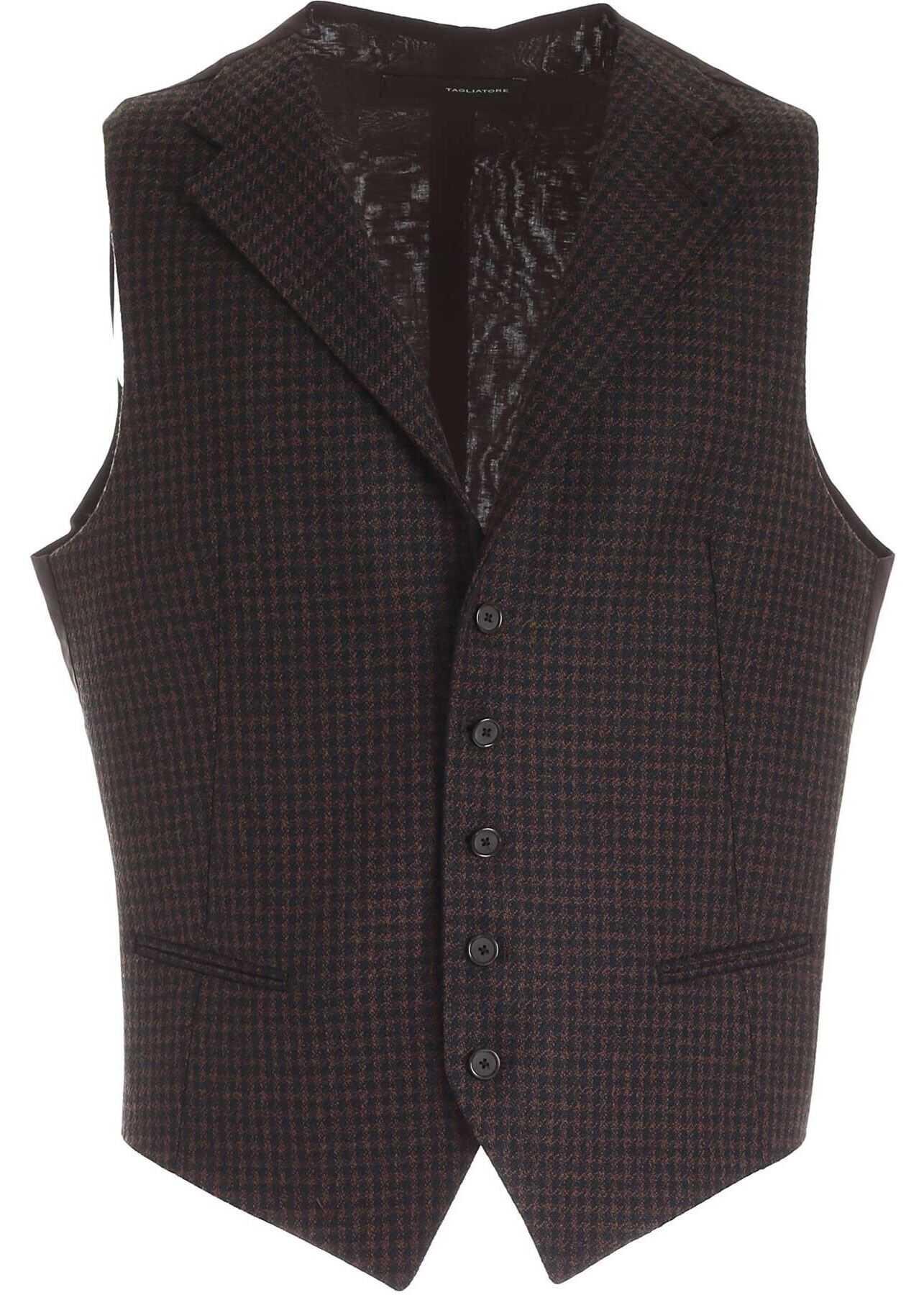 Tagliatore Checked Pattern Dennis Vest In Brown And Black Black imagine