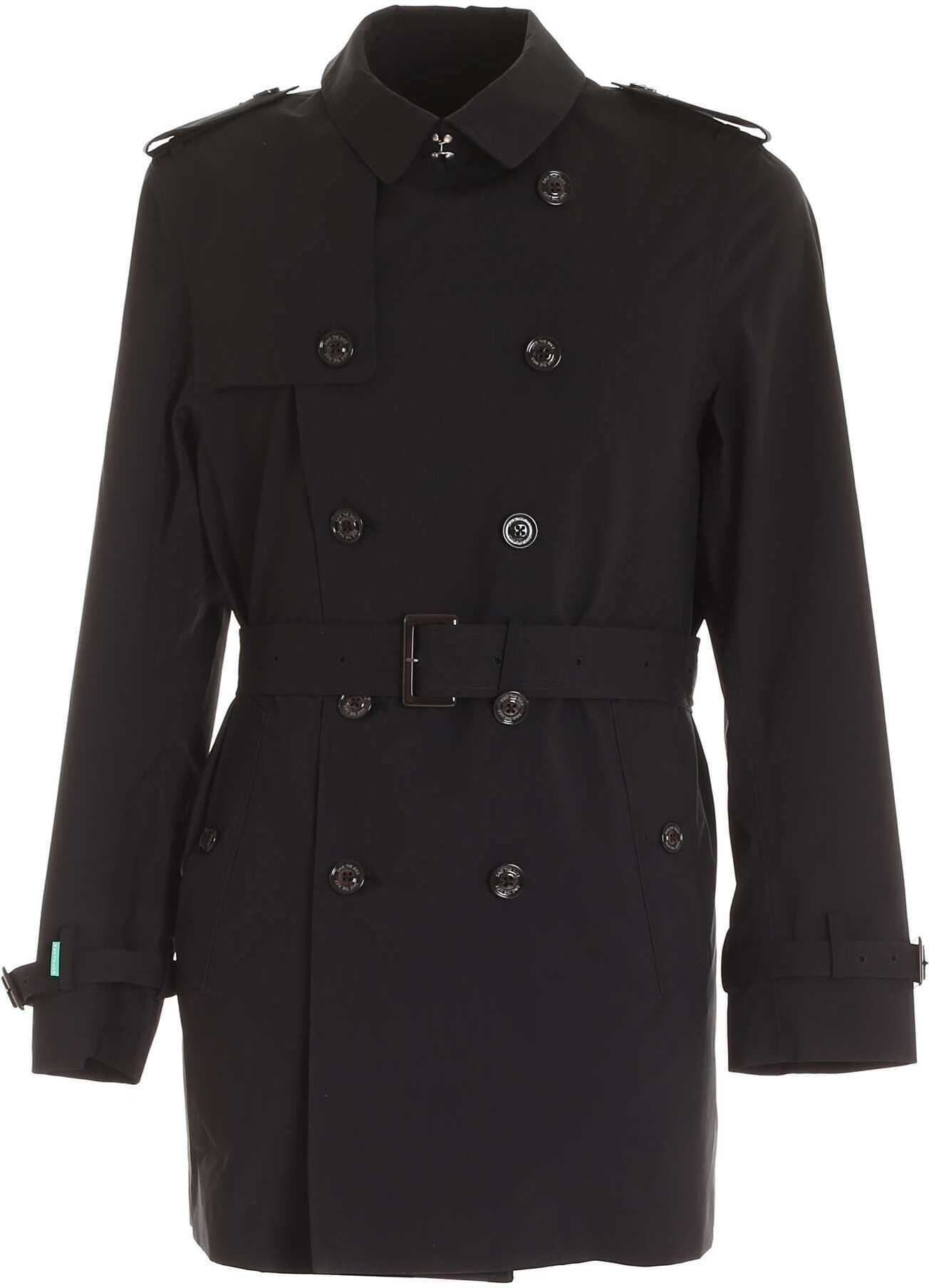 Save the Duck Double-Breasted Trench Coat In Black Black imagine