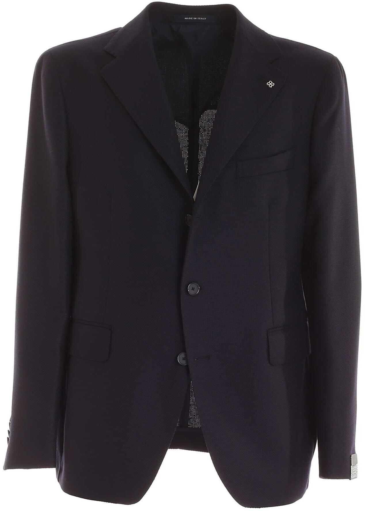 Tagliatore Single-Breasted Jacket In Blue Blue imagine